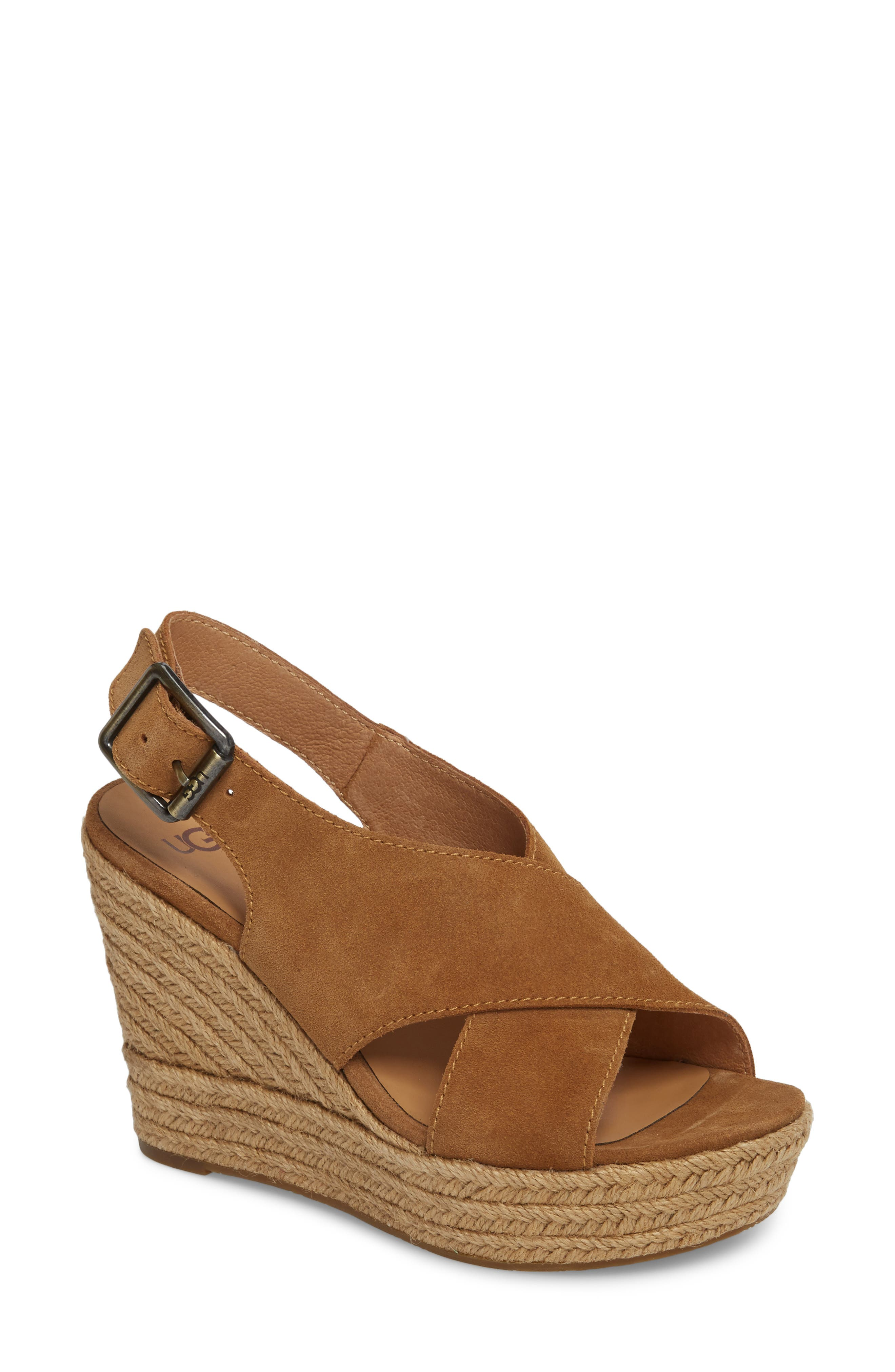 Harlow Platform Wedge Sandal,                             Main thumbnail 1, color,                             Chestnut Suede
