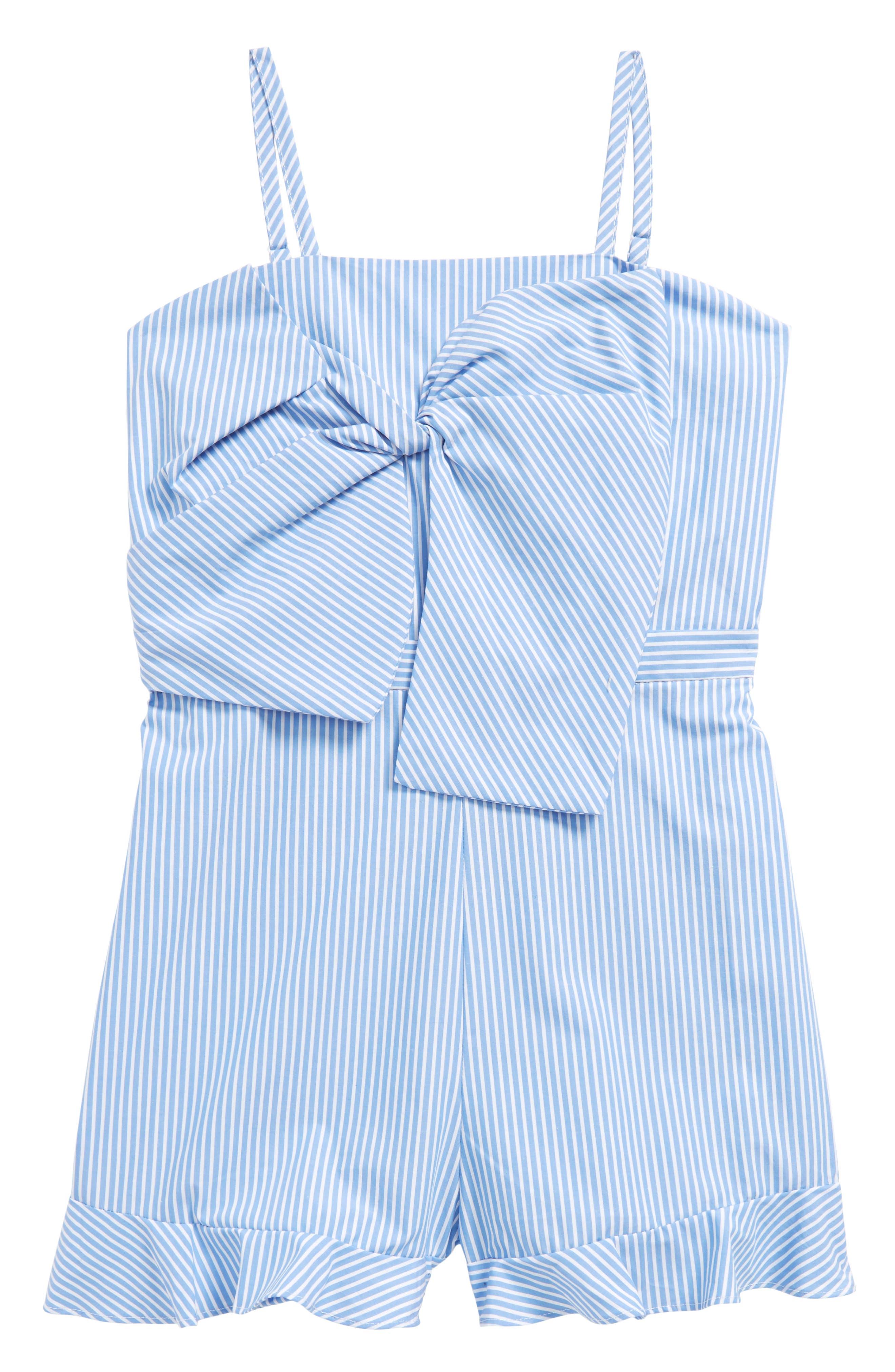 Junior Jen Stripe Bow Romper,                             Main thumbnail 1, color,                             Placid Blue Stripe