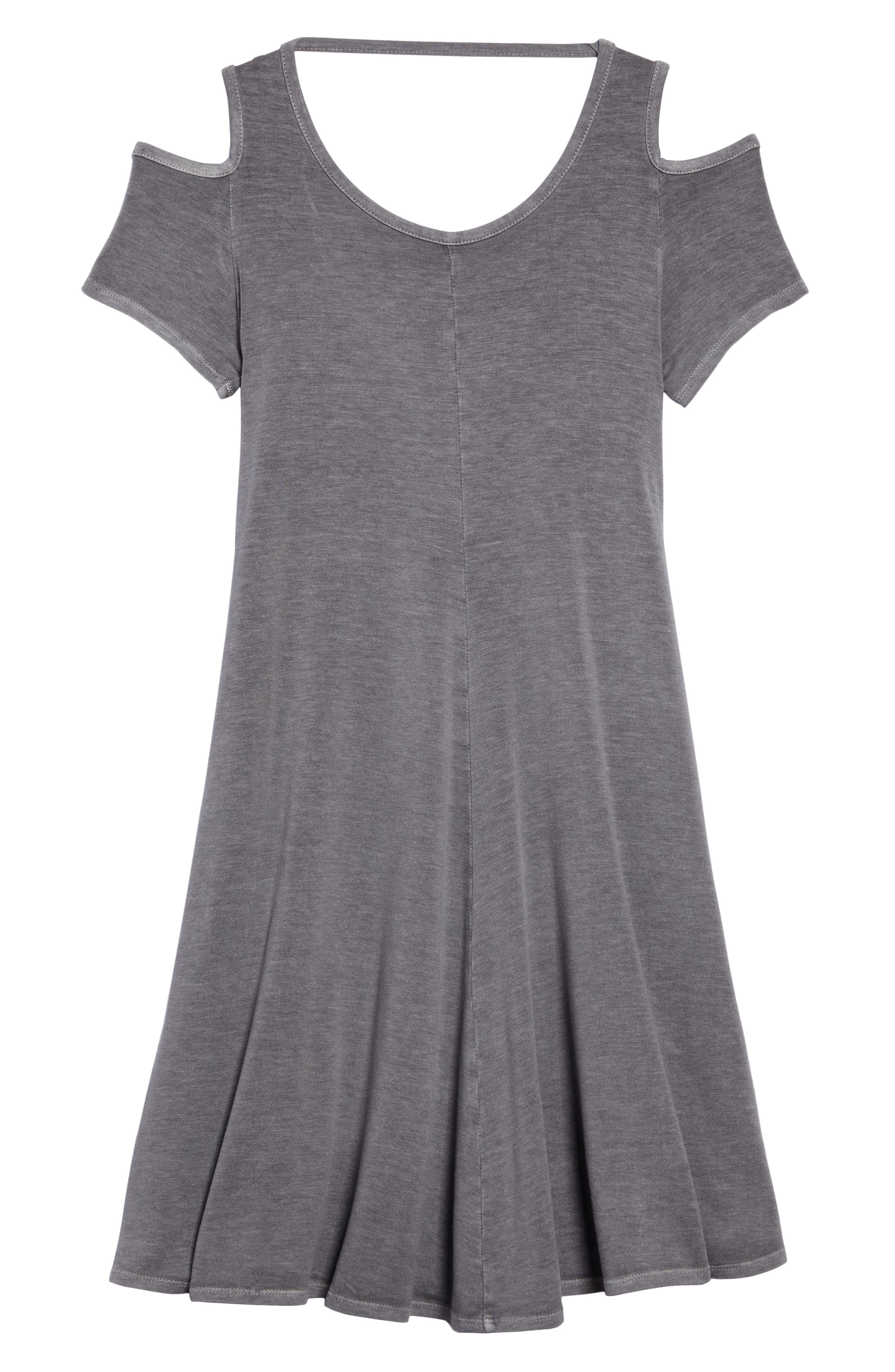Cold Shoulder Jersey Dress,                             Main thumbnail 1, color,                             Grey Castlerock