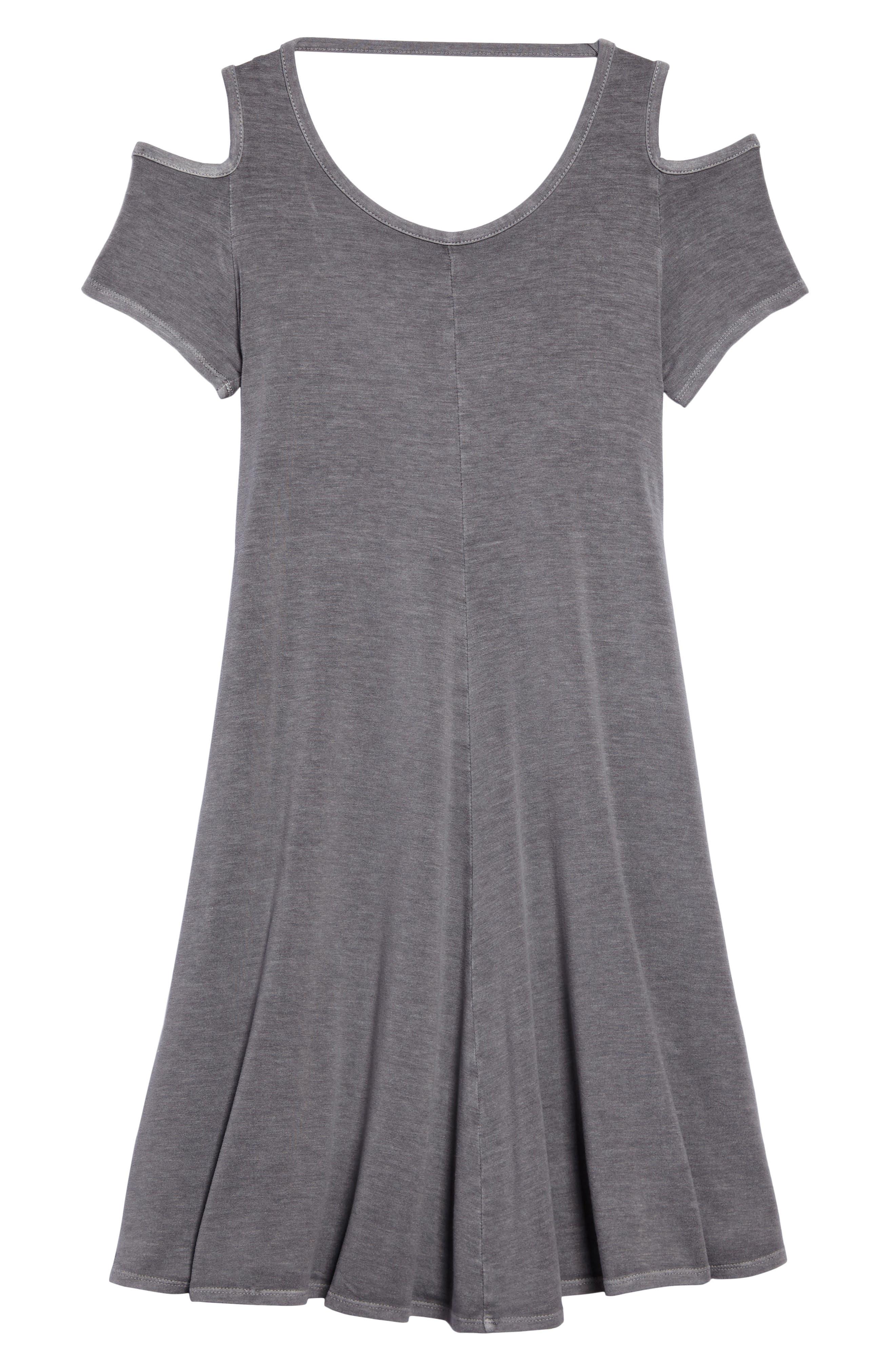 Cold Shoulder Jersey Dress,                         Main,                         color, Grey Castlerock