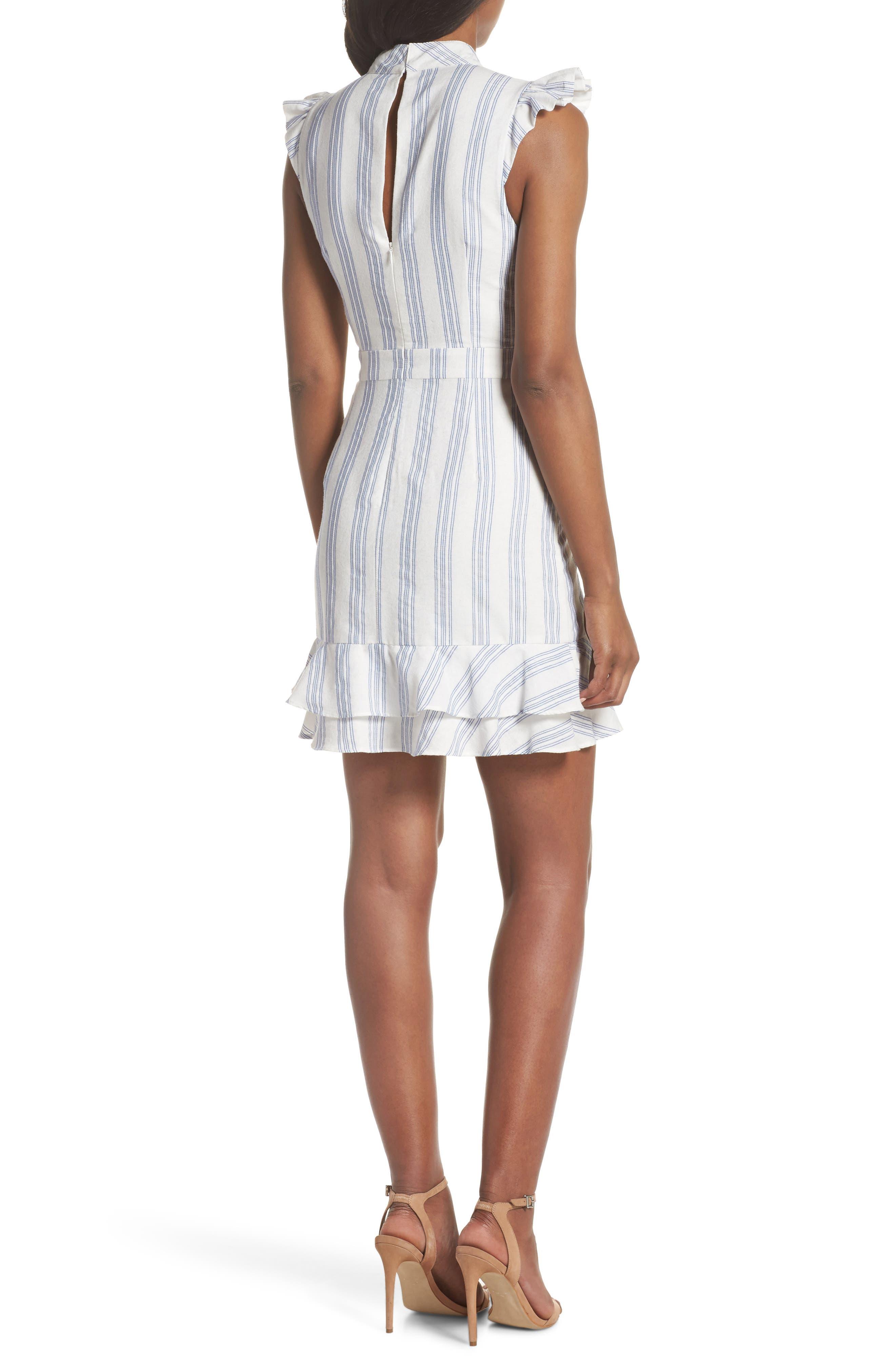 Stripe Ruffle Sheath Dress,                             Alternate thumbnail 2, color,                             White/ Blue