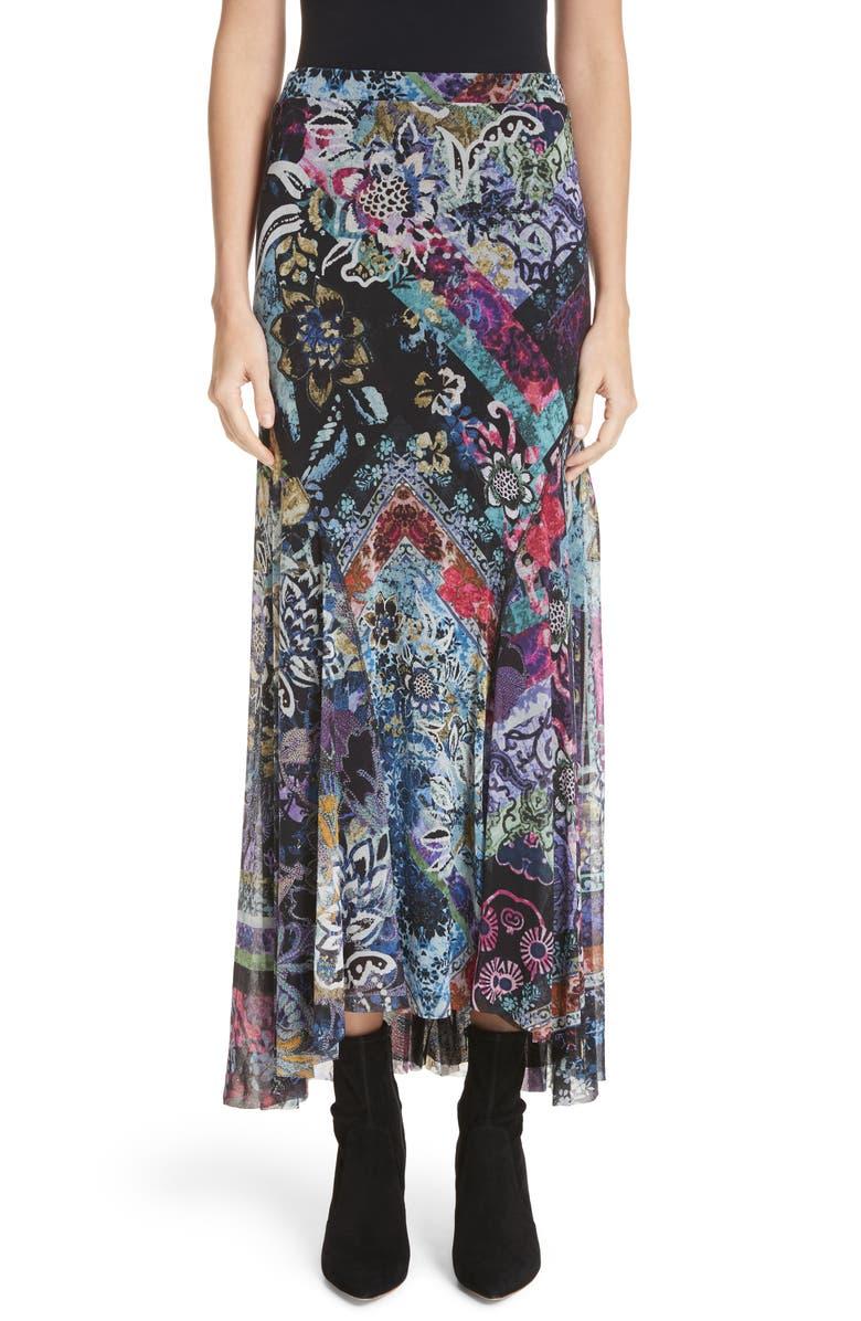 Floral Patchwork Maxi Skirt