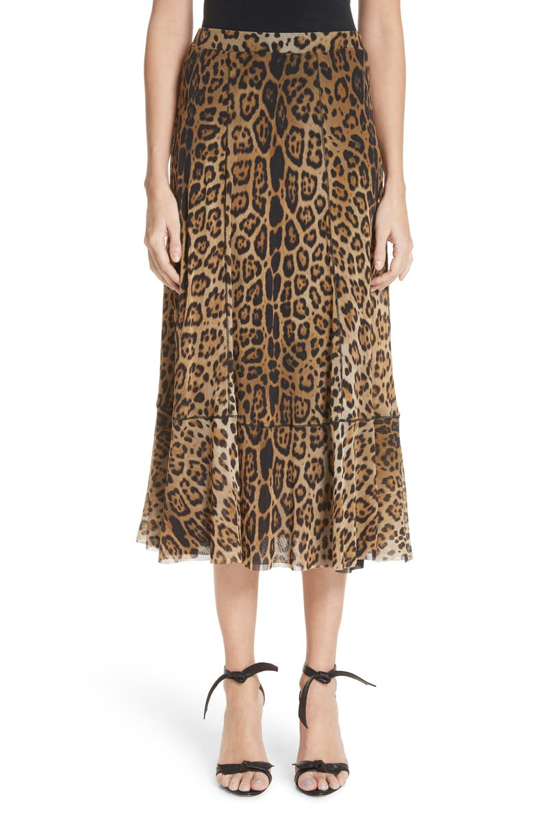 Leopard Print Tulle Midi Skirt
