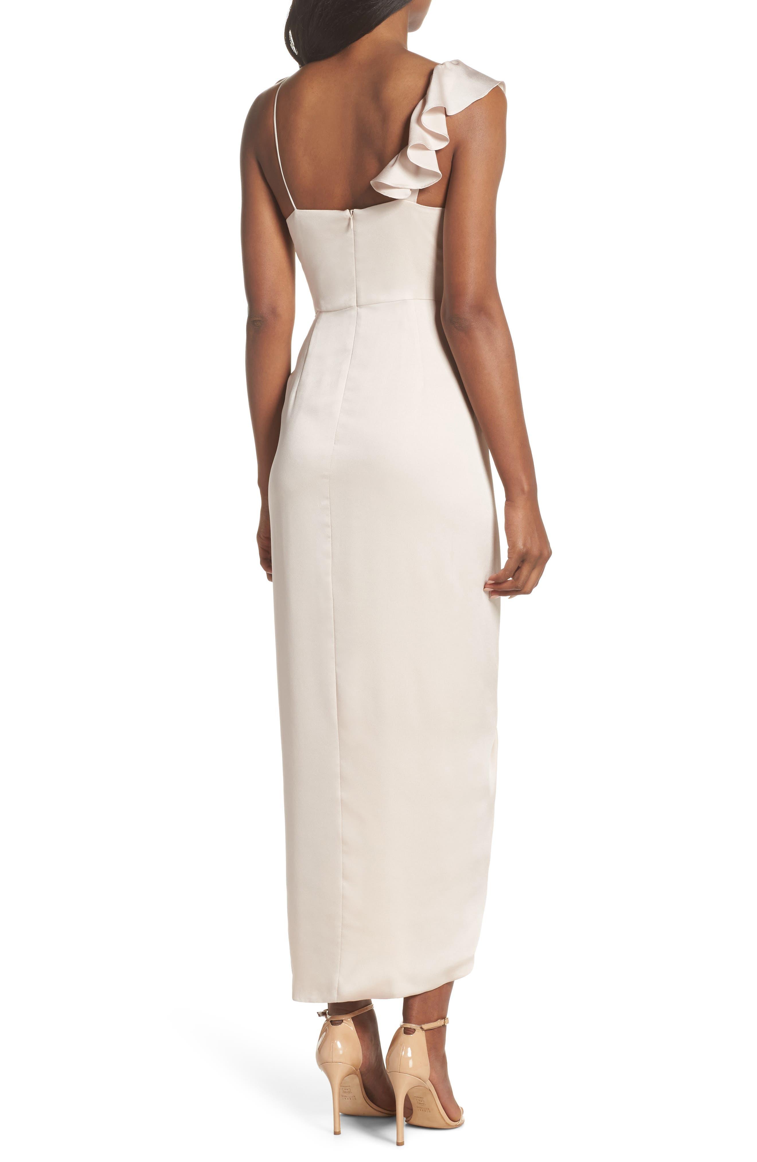 Luxe Asymmetrical Frill Maxi Dress,                             Alternate thumbnail 2, color,                             Porcelain