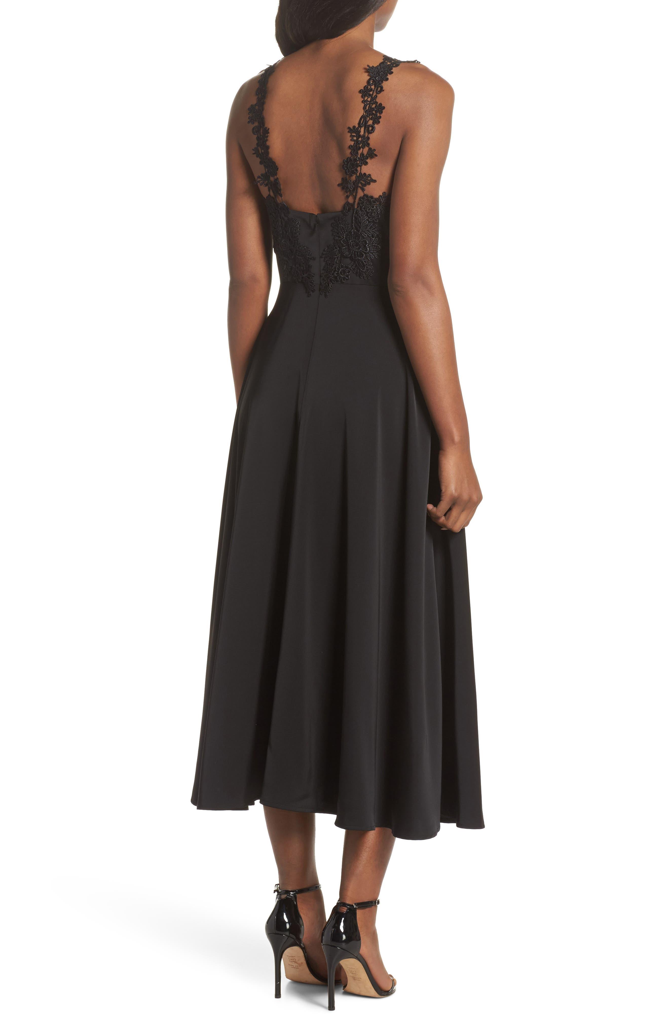Aislinn Floral Appliqué Tea Length Dress,                             Alternate thumbnail 2, color,                             Black Multi