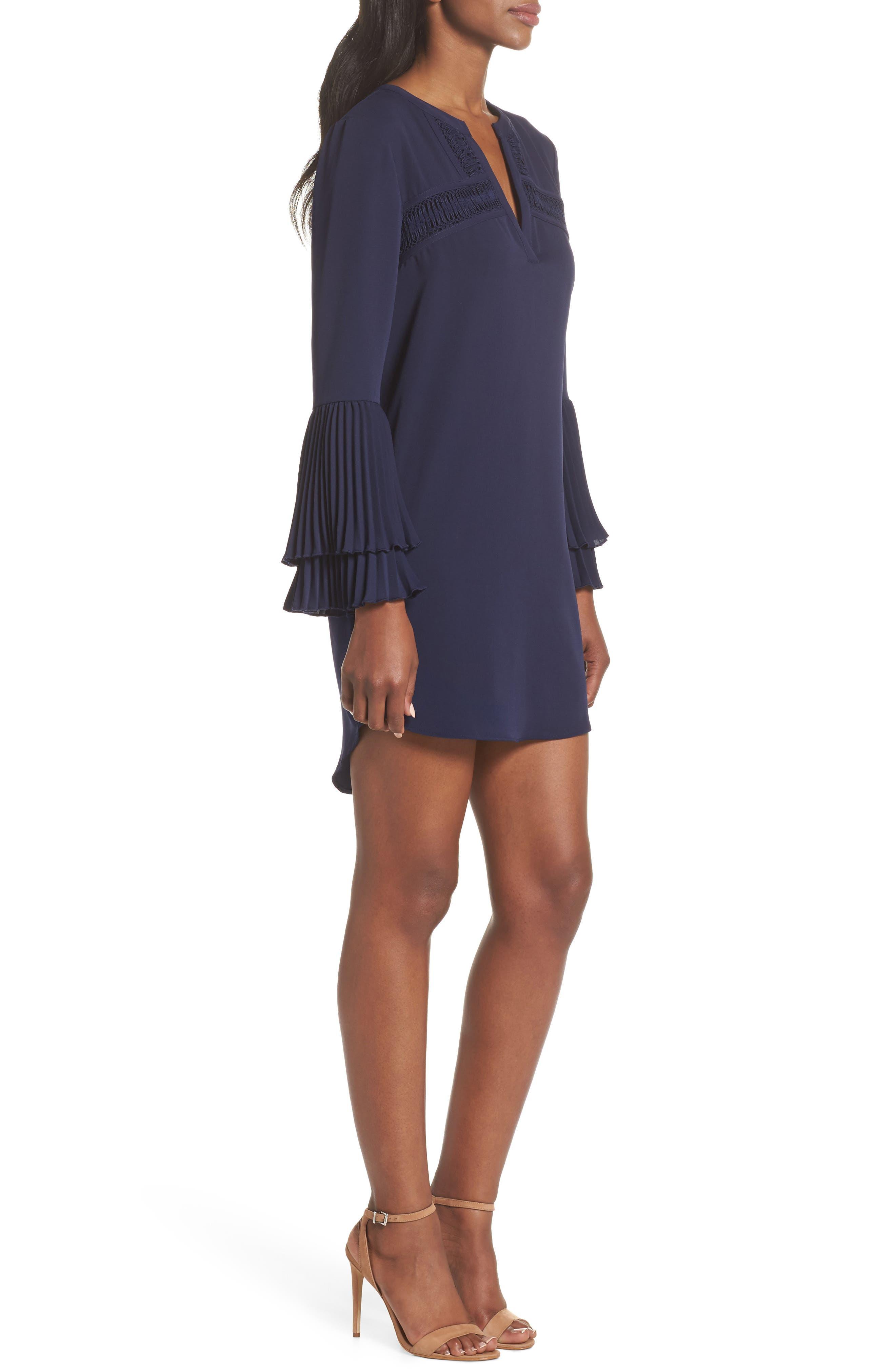 Elissa Pleat Cuff Shift Dress,                             Alternate thumbnail 3, color,                             Navy