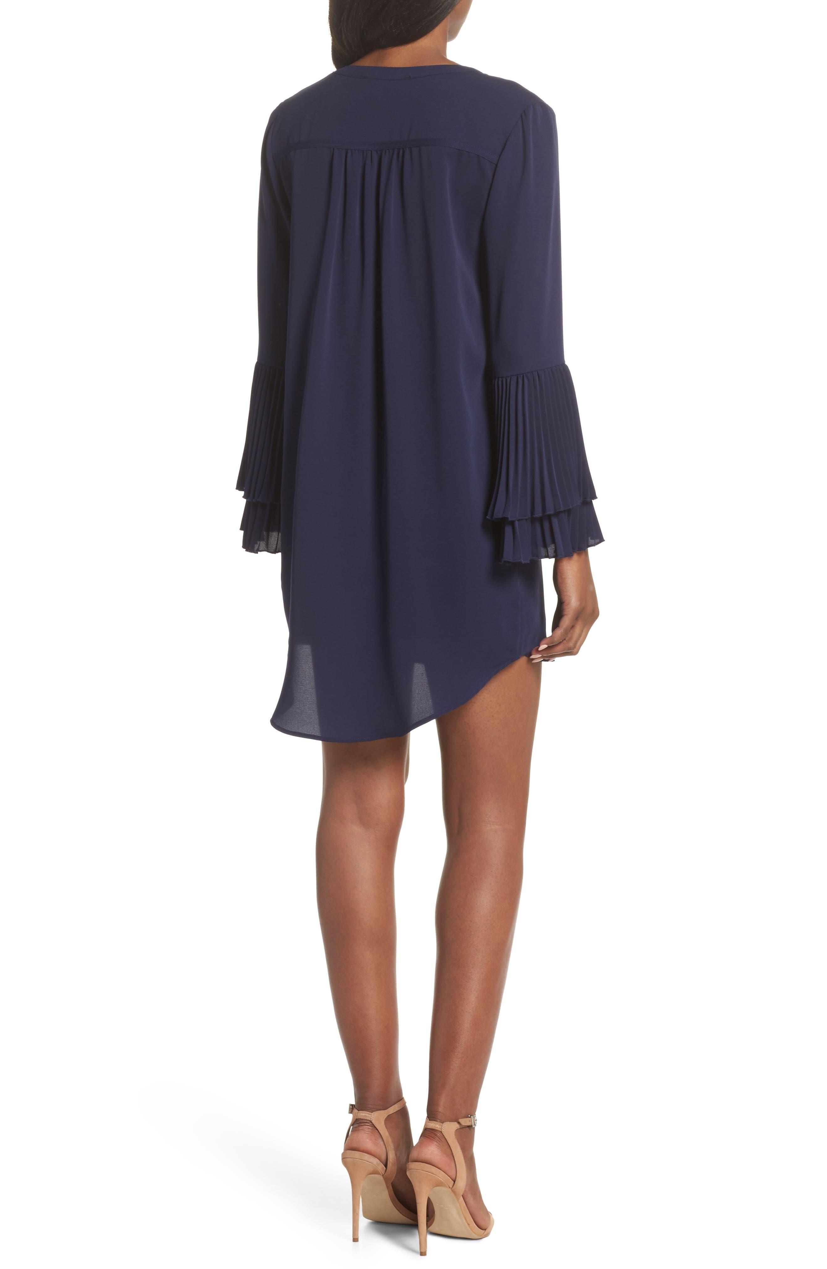 Elissa Pleat Cuff Shift Dress,                             Alternate thumbnail 2, color,                             Navy