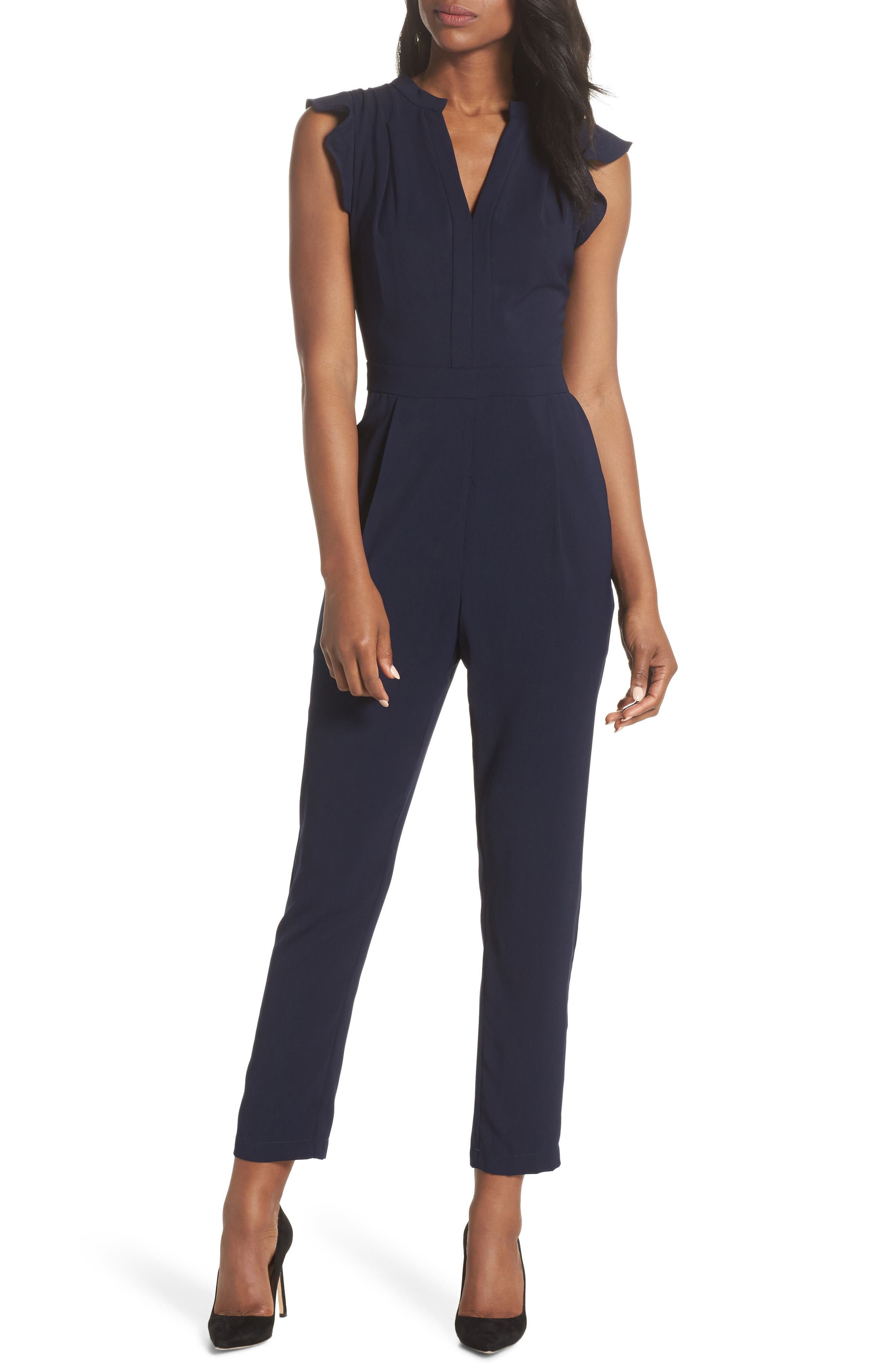 Sadie Ruffle Jumpsuit,                         Main,                         color, Navy