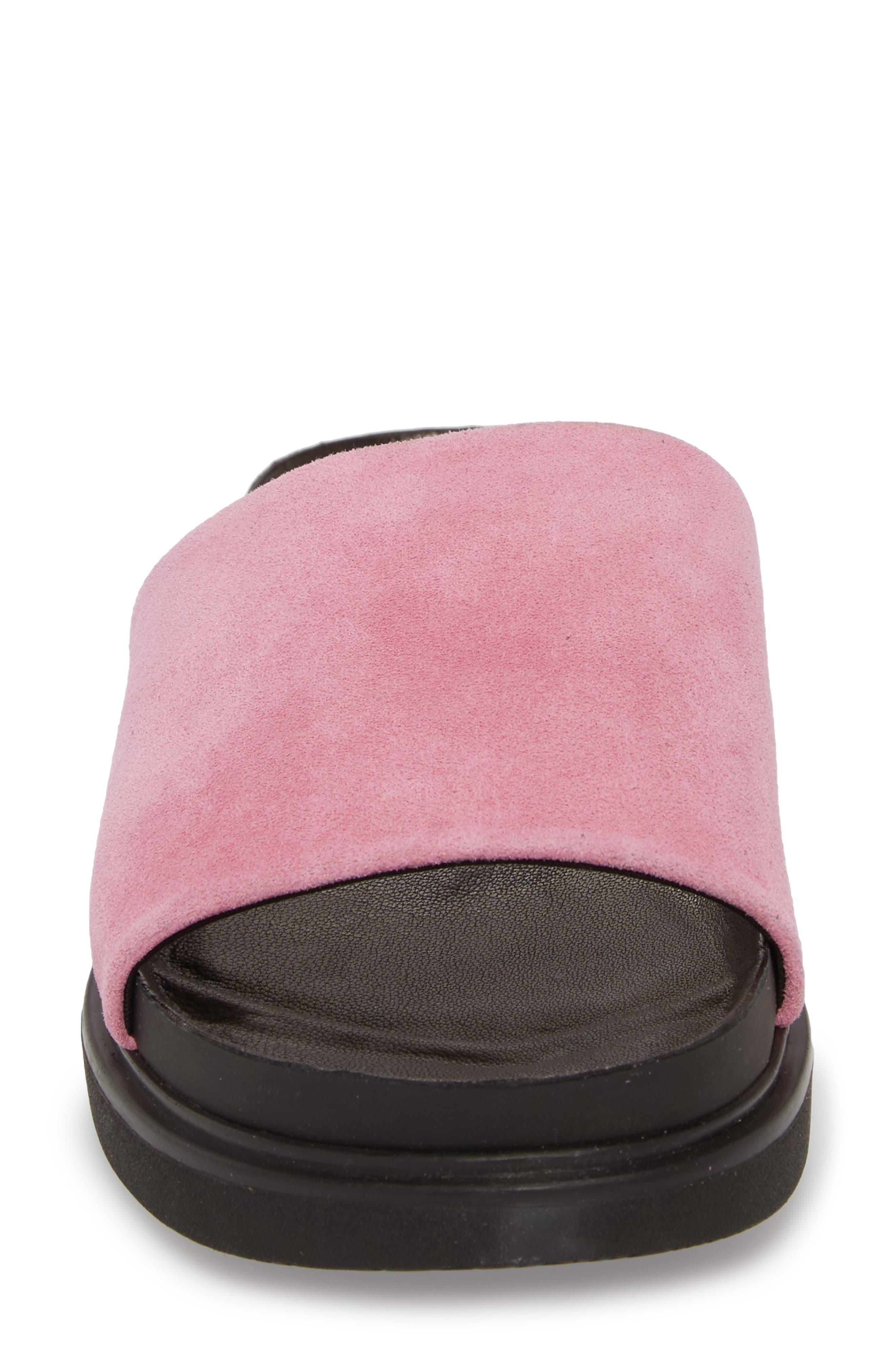 Erin Slide Sandal,                             Alternate thumbnail 4, color,                             Pink Suede