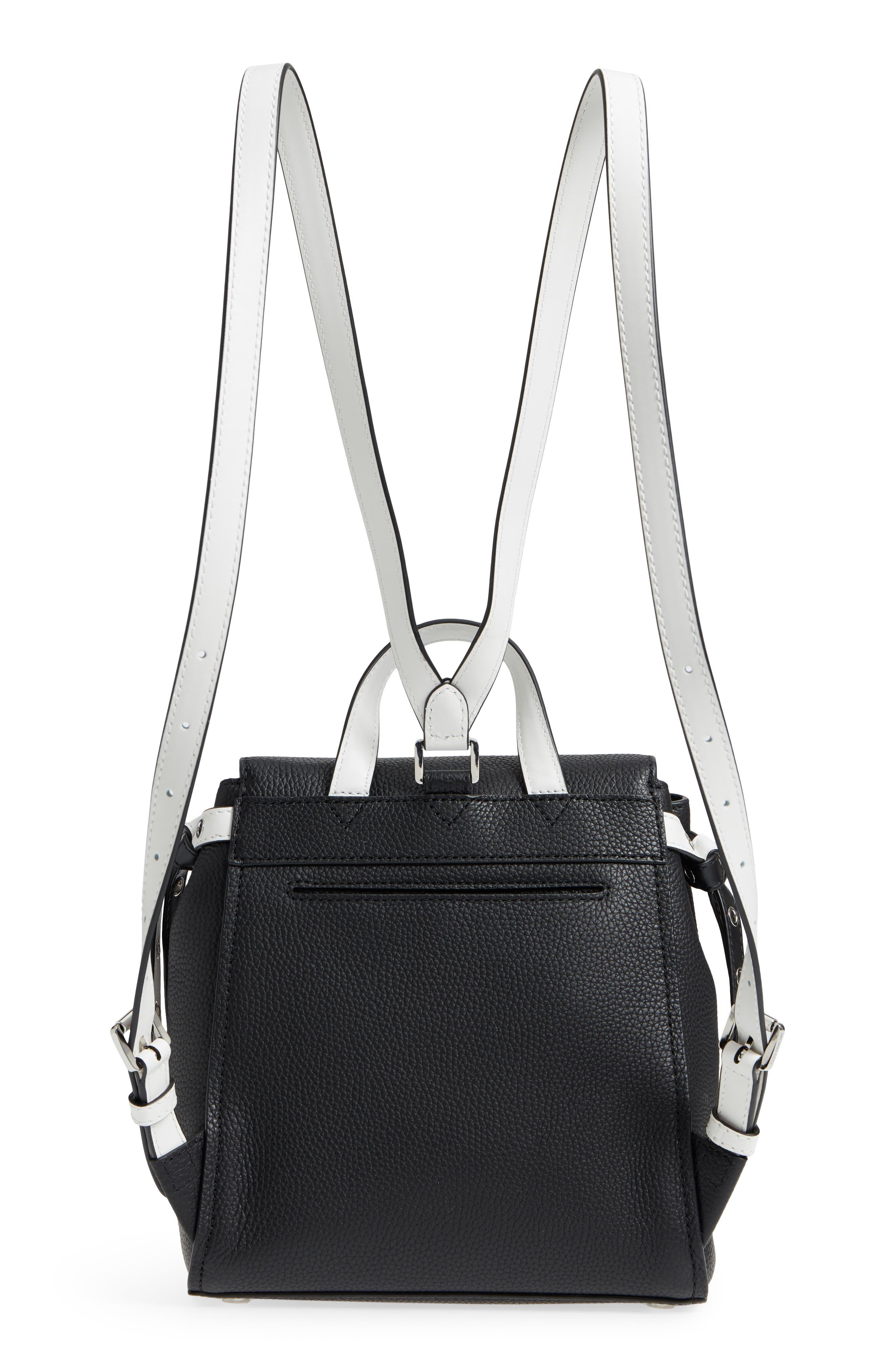 MICHAEL Michael Kors Small Flower Embellished Leather Backpack,                             Alternate thumbnail 3, color,                             Black/ Optic White