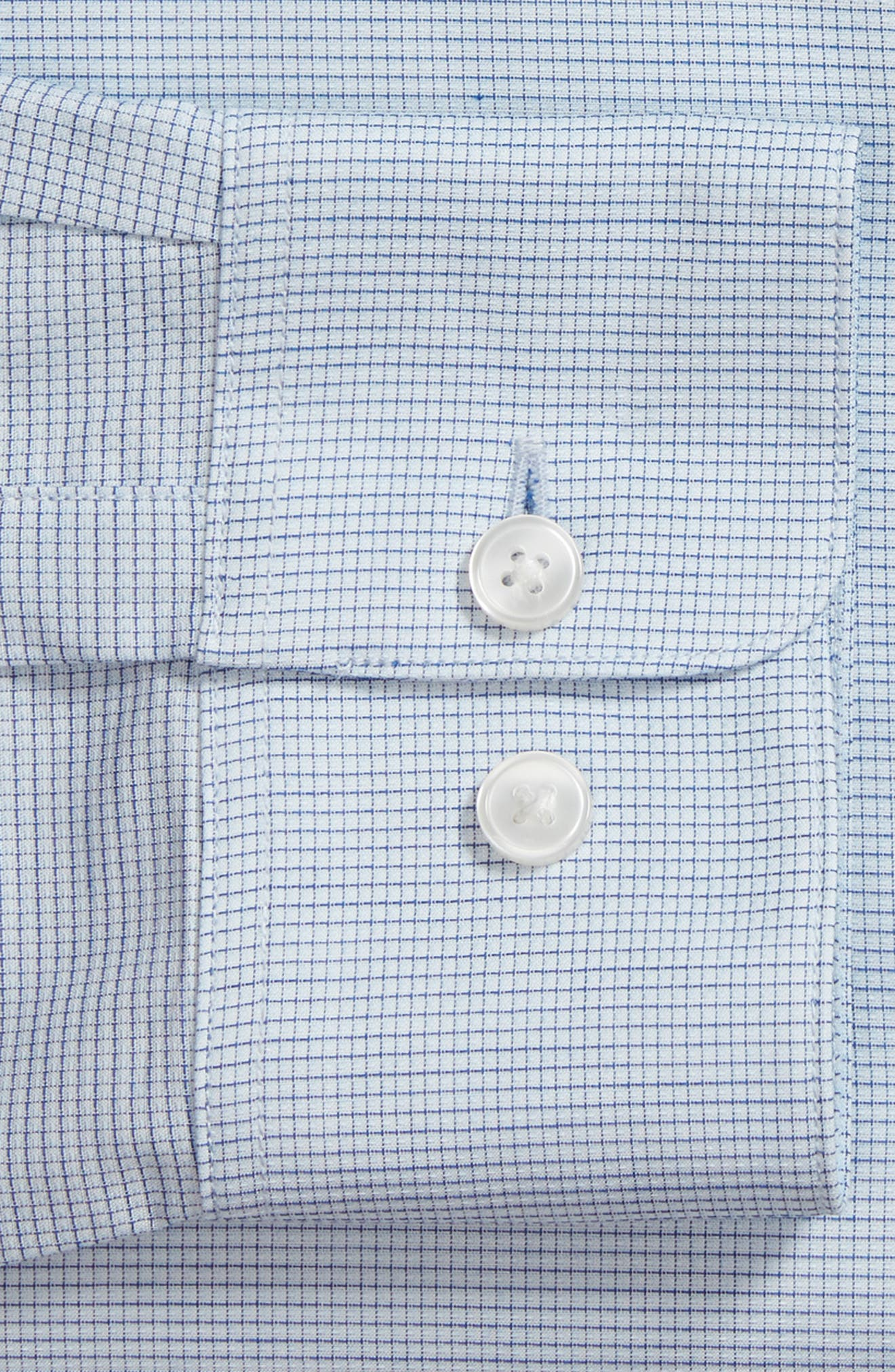 Slim Fit Stretch Microcheck Dress Shirt,                             Alternate thumbnail 5, color,                             Icicle Blue