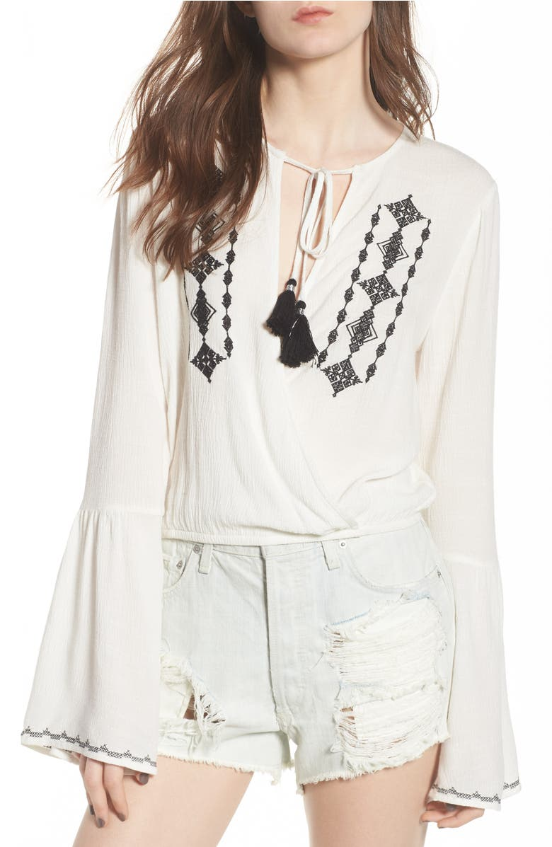 Lost + Wander FESTIVAL EMBROIDERED SURPLICE TOP
