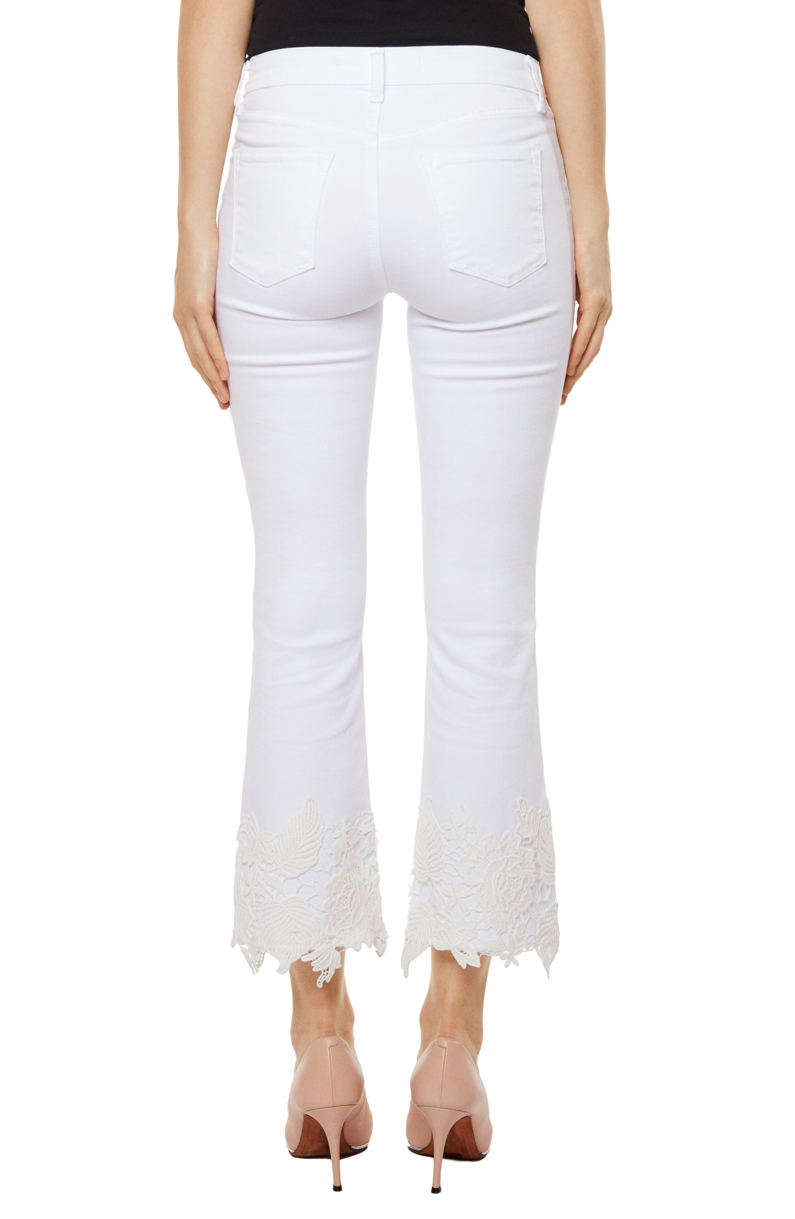 Alternate Image 2  - J Brand Selena Crop Bootcut Jeans (White Lace)