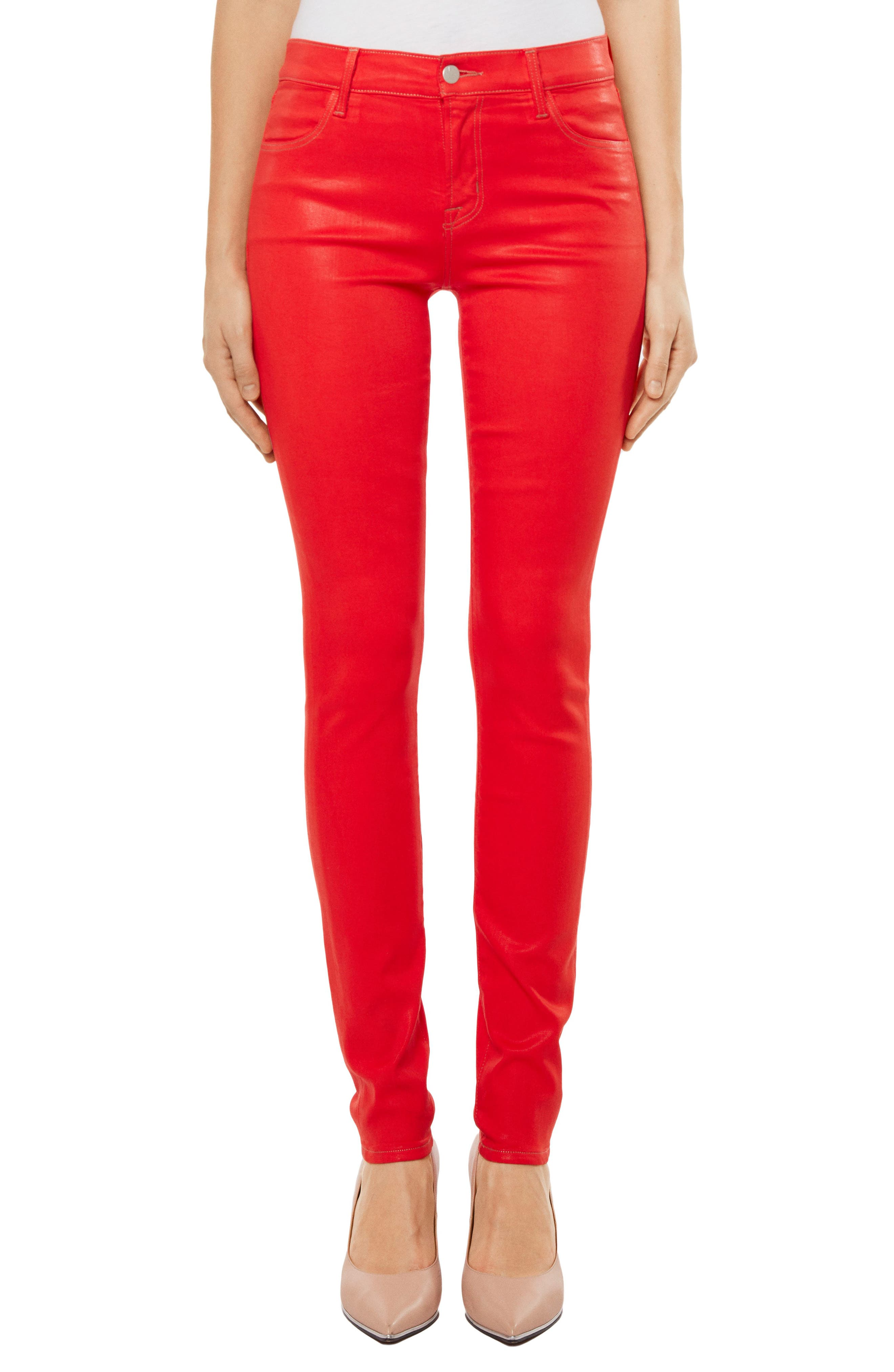 Super Skinny Jeans,                         Main,                         color, Bright Coral Coated