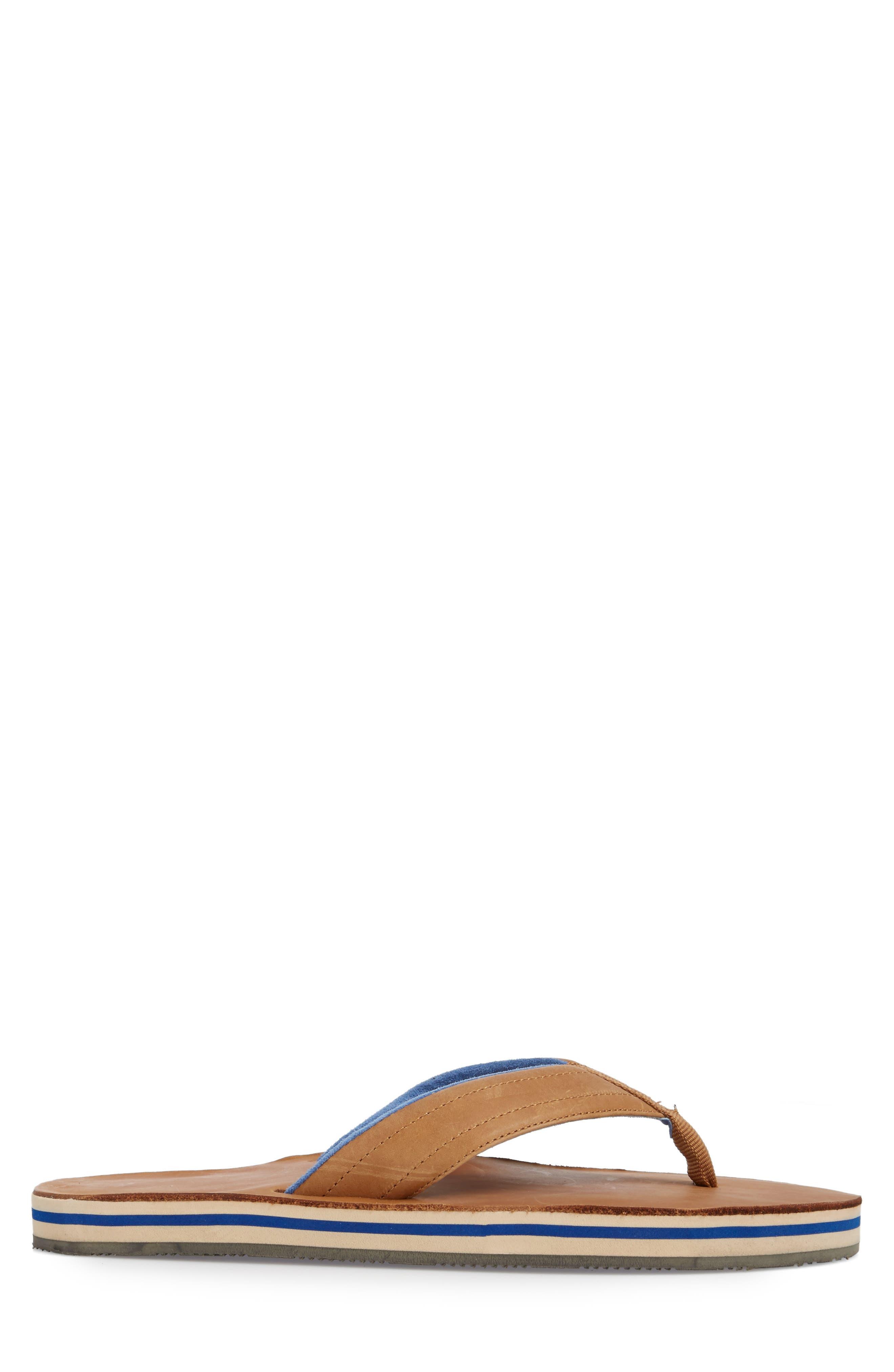 Lakes Sandwich Stripe Flip Flop,                             Alternate thumbnail 3, color,                             Tan/ Navy Leather