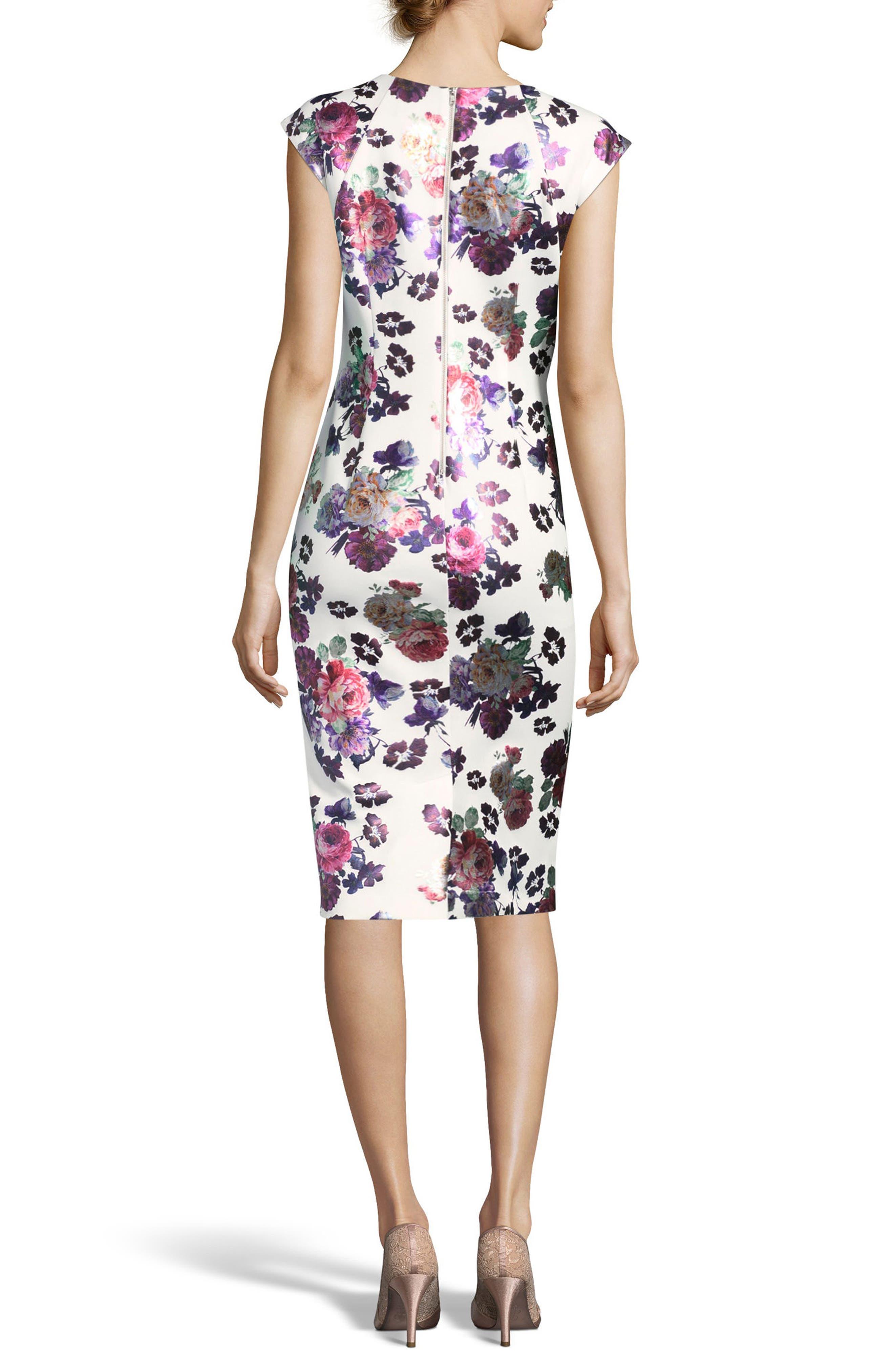 Foil Print Sheath Dress,                             Alternate thumbnail 2, color,                             Ivory/ Pink