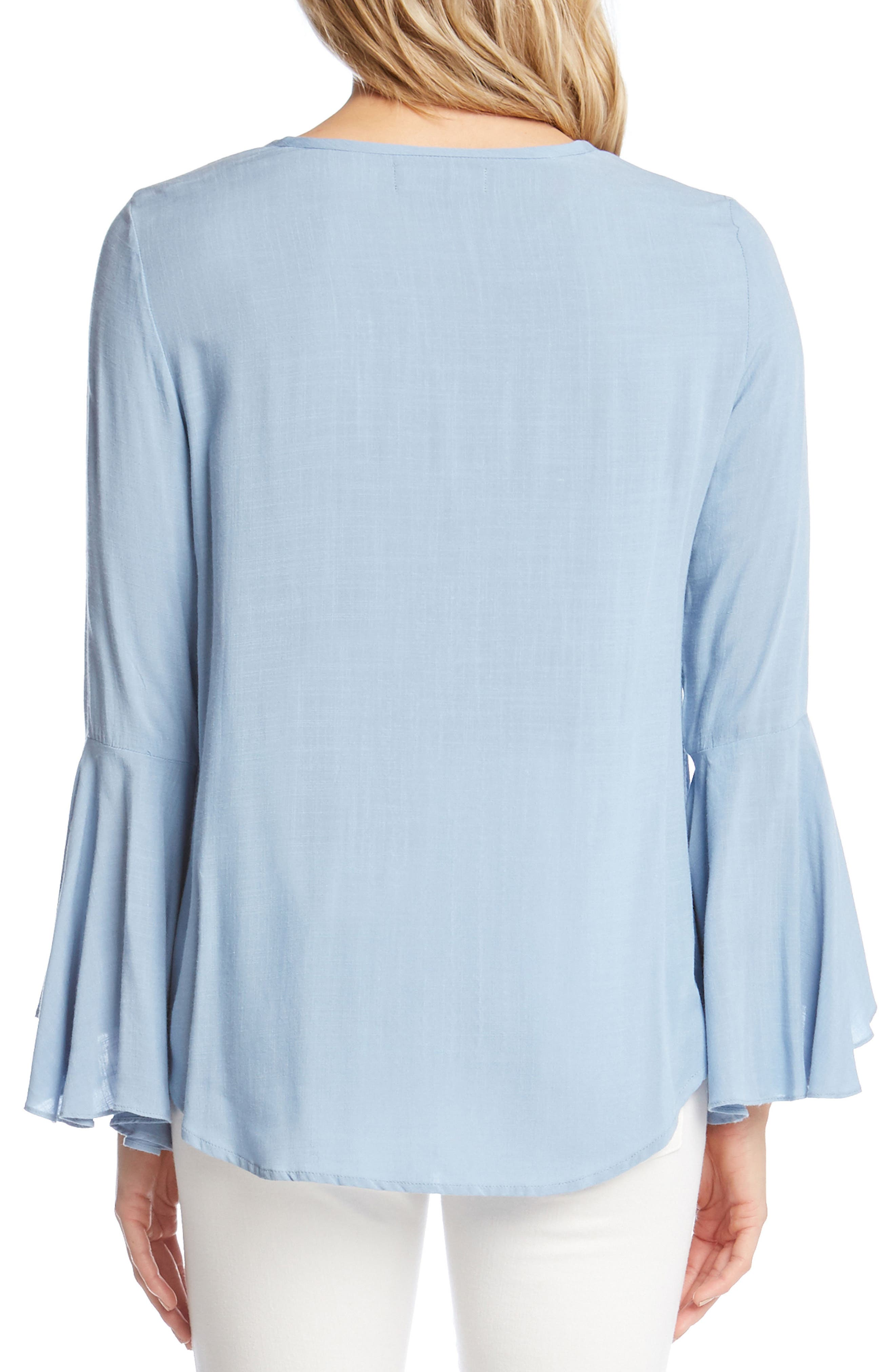Embroidered Split Sleeve Top,                             Alternate thumbnail 2, color,                             Power Blue