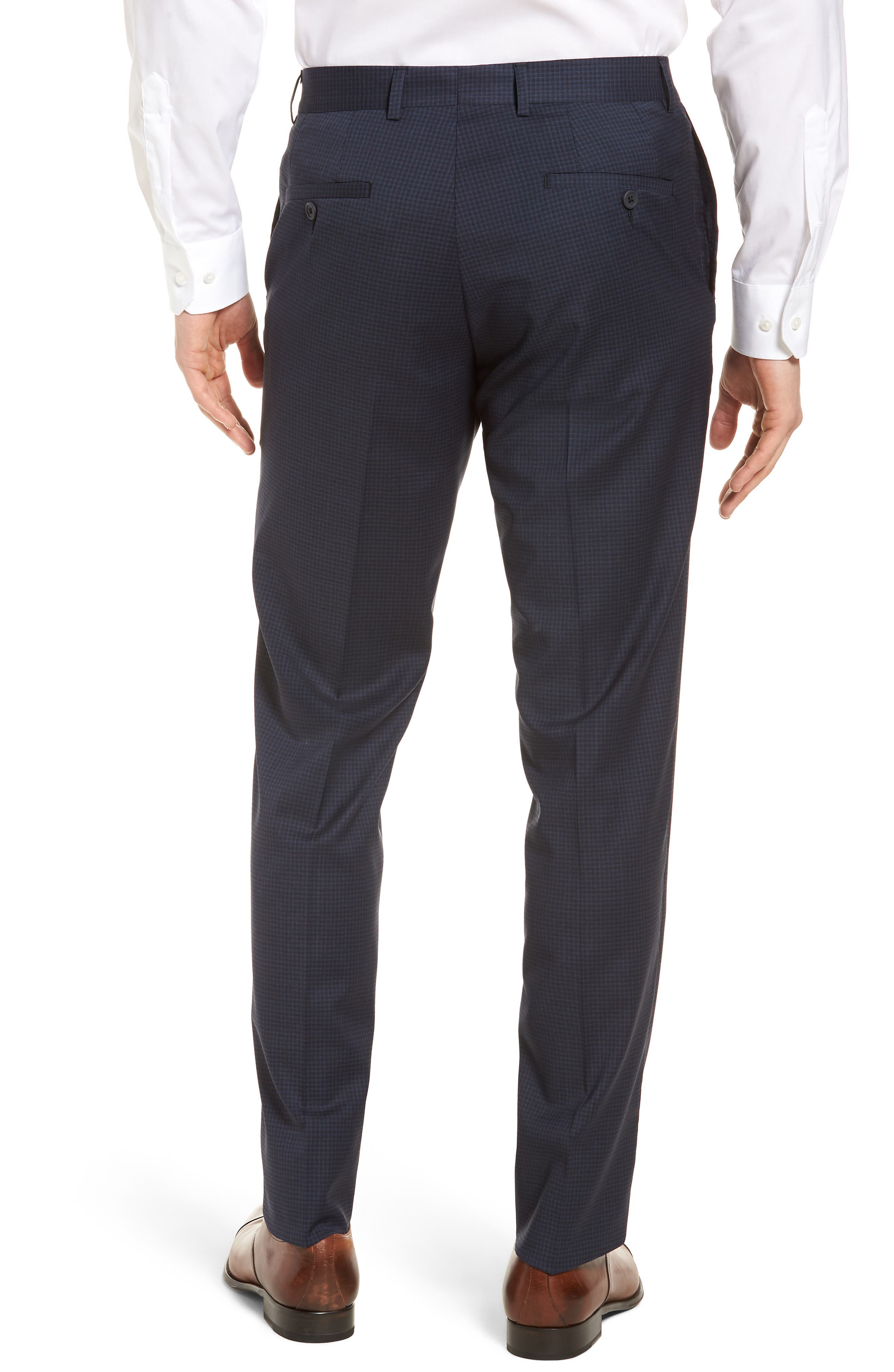 Tech-Smart Check Flat Front Stretch Wool Pants,                             Alternate thumbnail 2, color,                             Navy