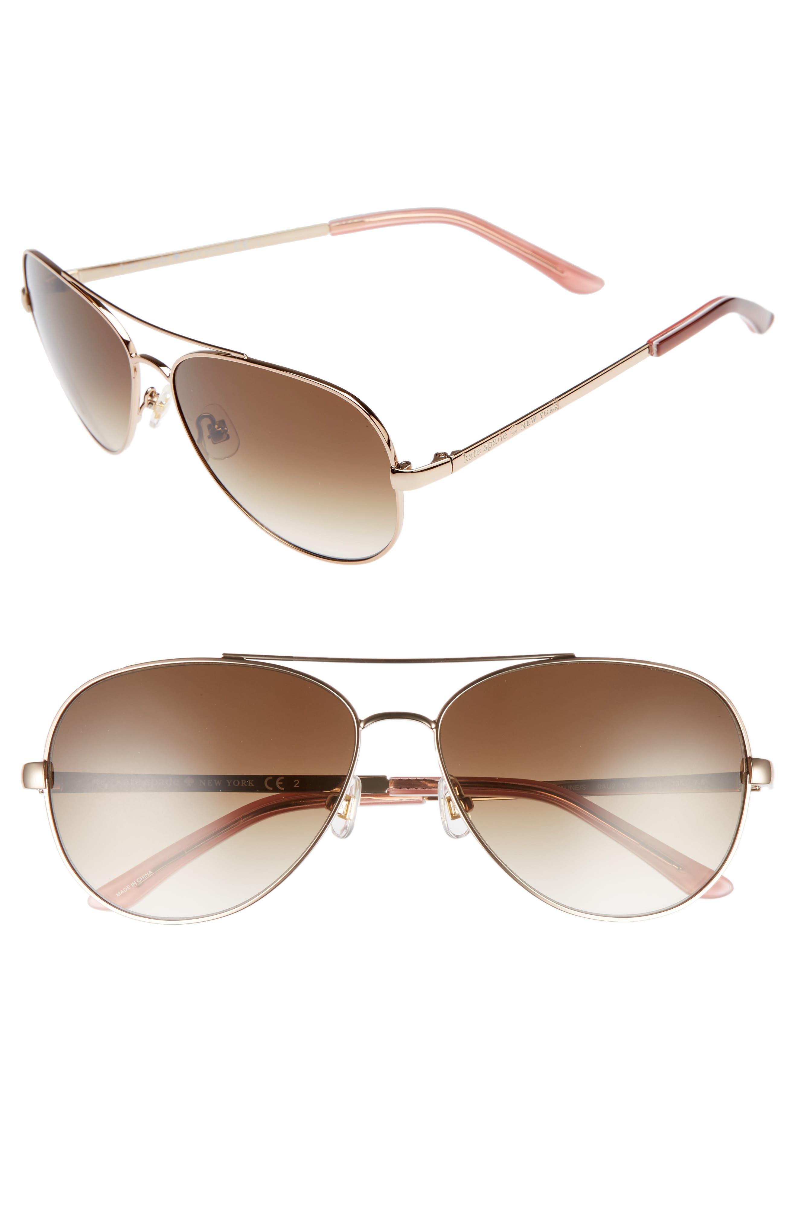 'avaline' 58mm aviator sunglasses,                             Main thumbnail 1, color,                             Rose Gold/ Brown Gradient