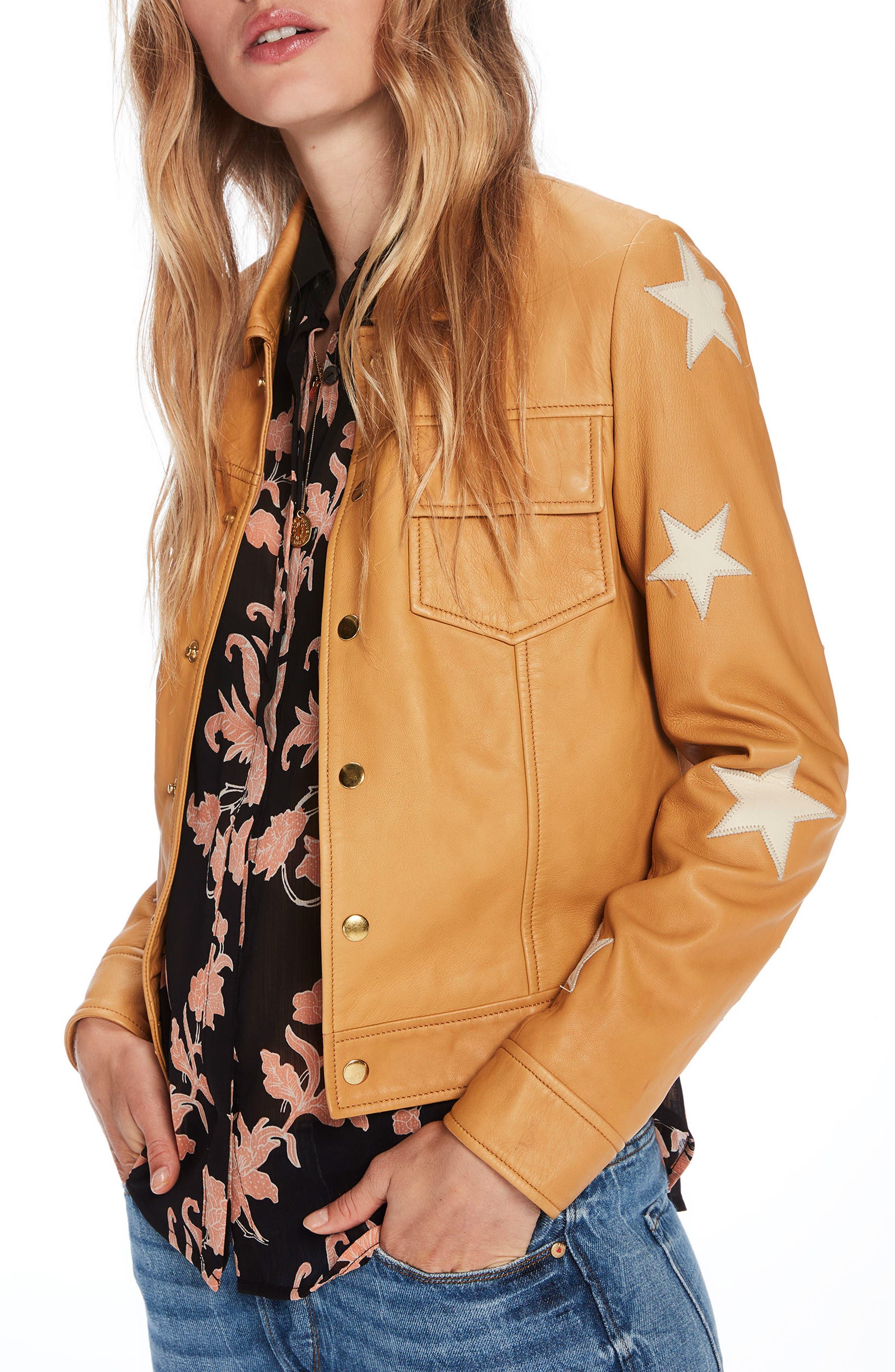 Sheepskin Leather Shirt Jacket,                             Alternate thumbnail 3, color,                             Color 1942 Sahara