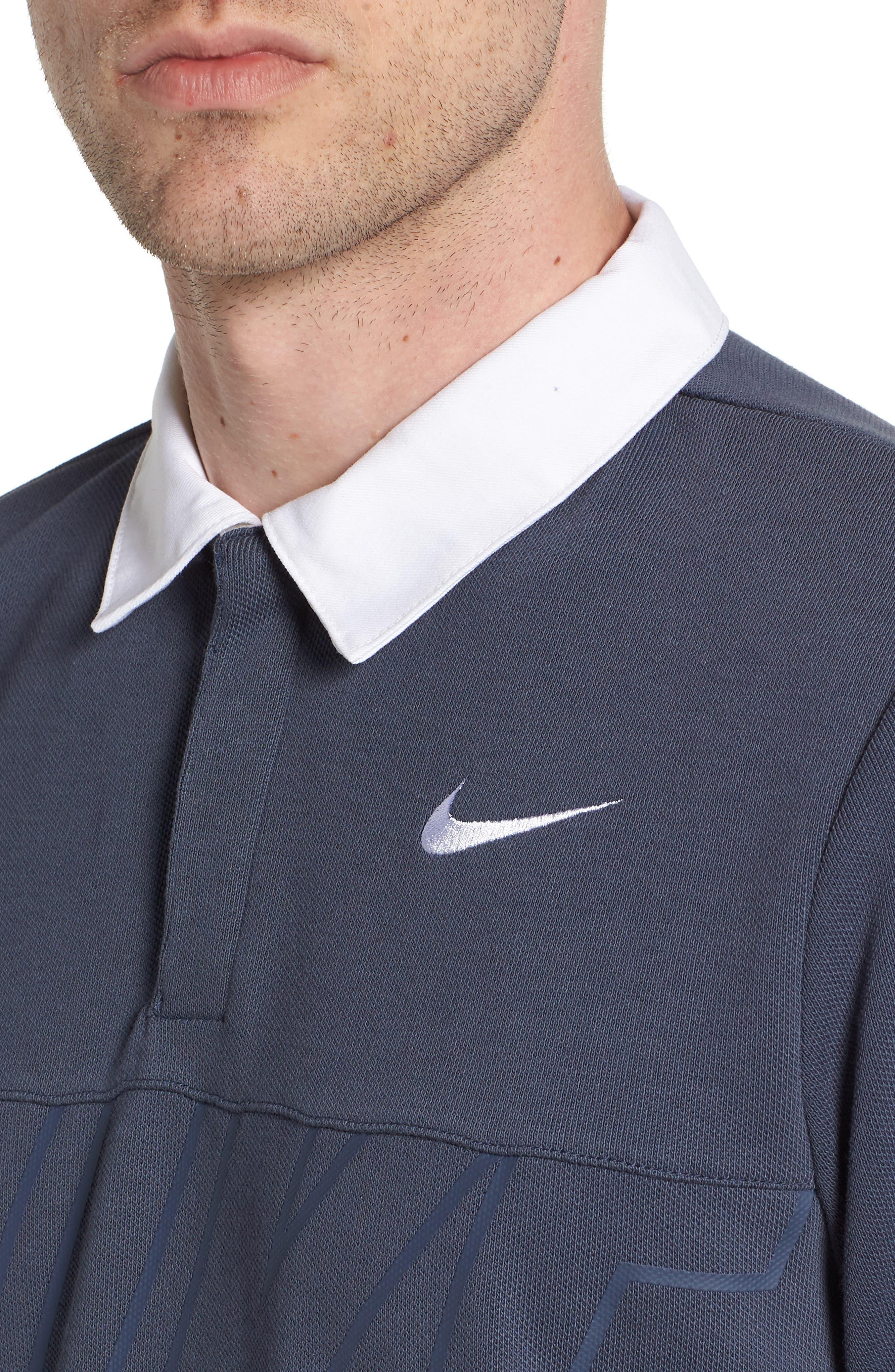 Nike Dry SB Rugby Polo,                             Alternate thumbnail 4, color,                             Thunder Blue/ White