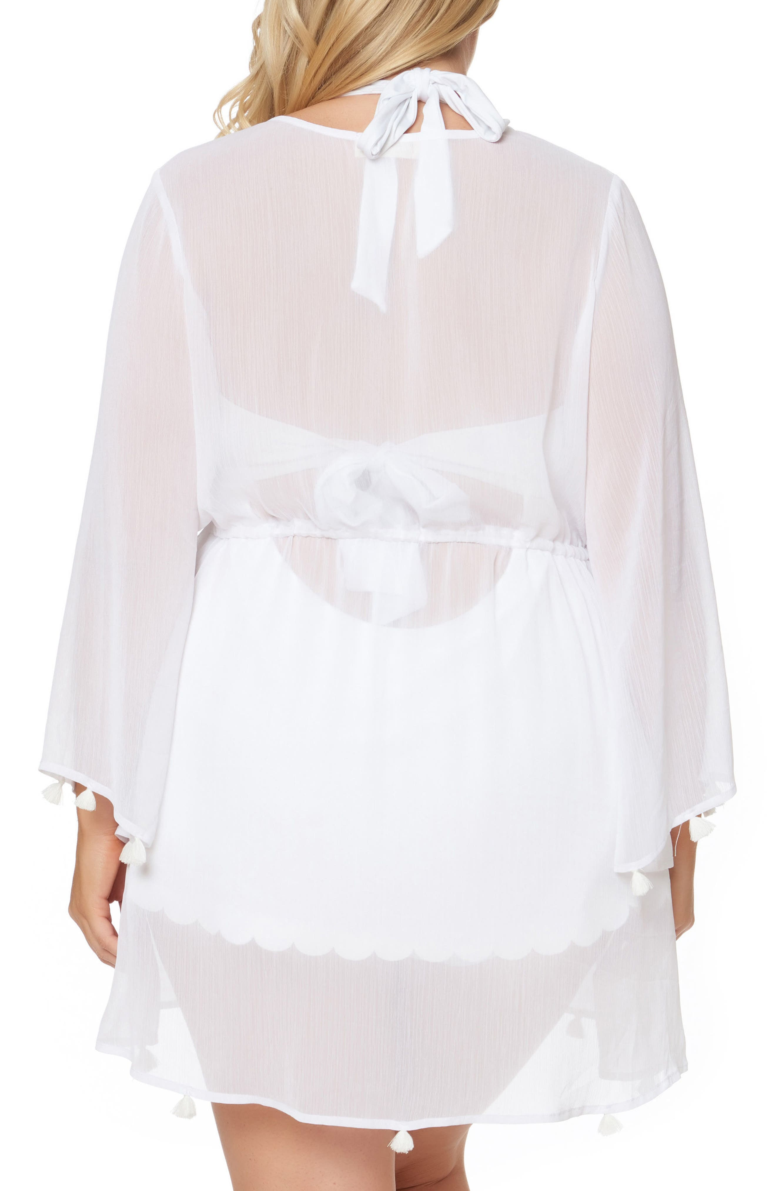 Chiffon Cover-Up Kimono,                             Alternate thumbnail 2, color,                             White