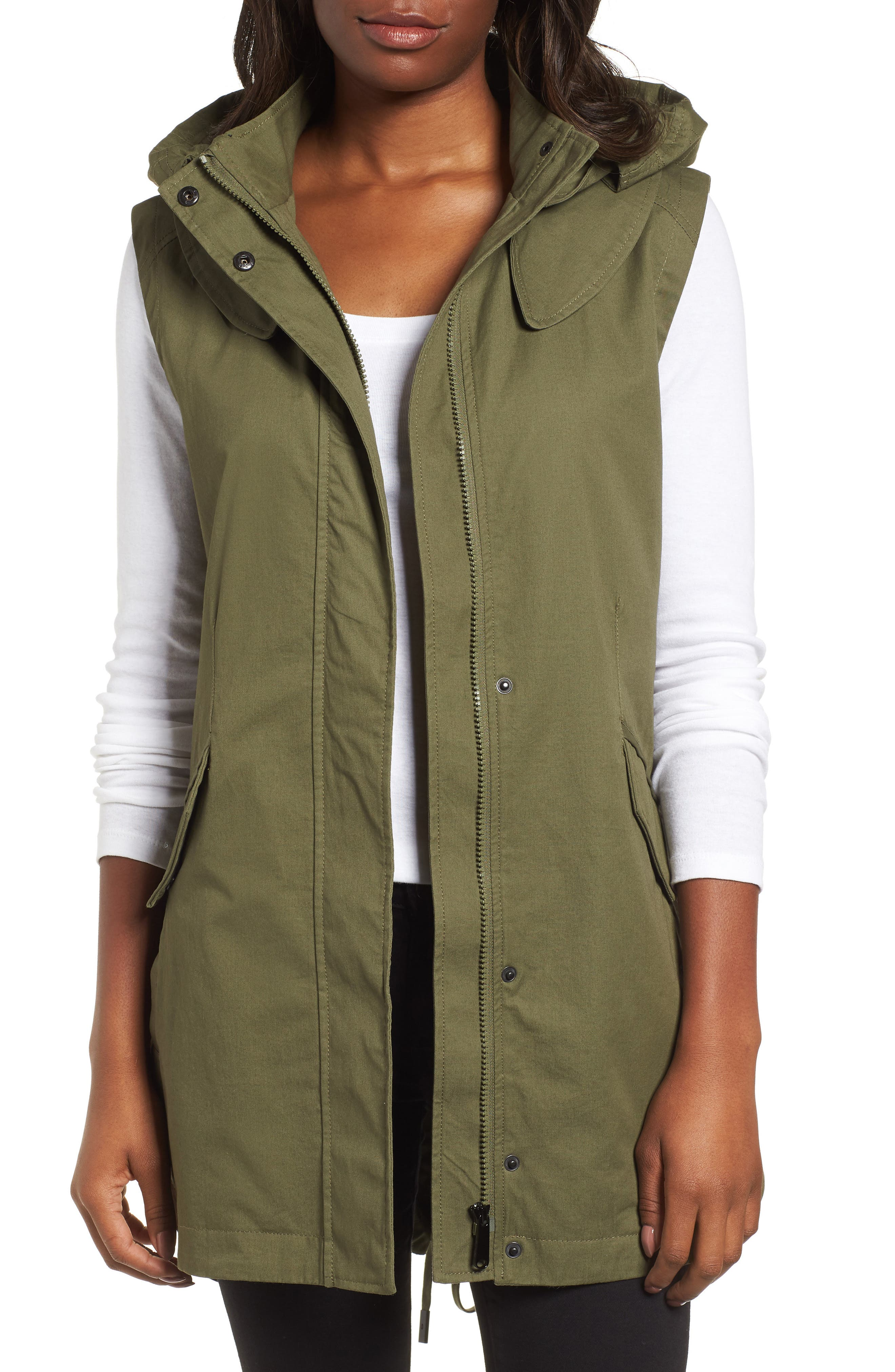 Elongated Hooded Vest,                             Main thumbnail 1, color,                             Loden