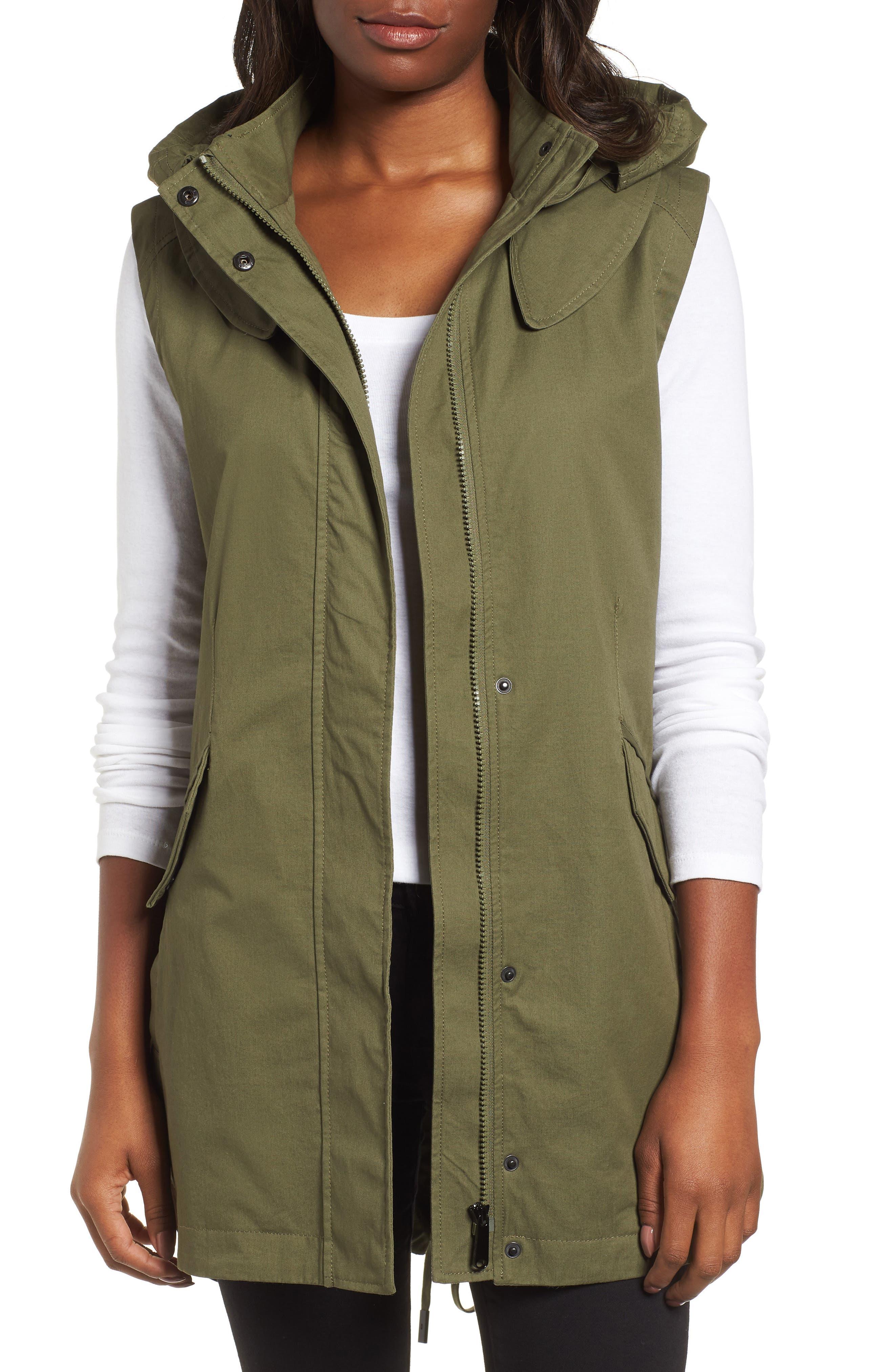 Elongated Hooded Vest,                         Main,                         color, Loden