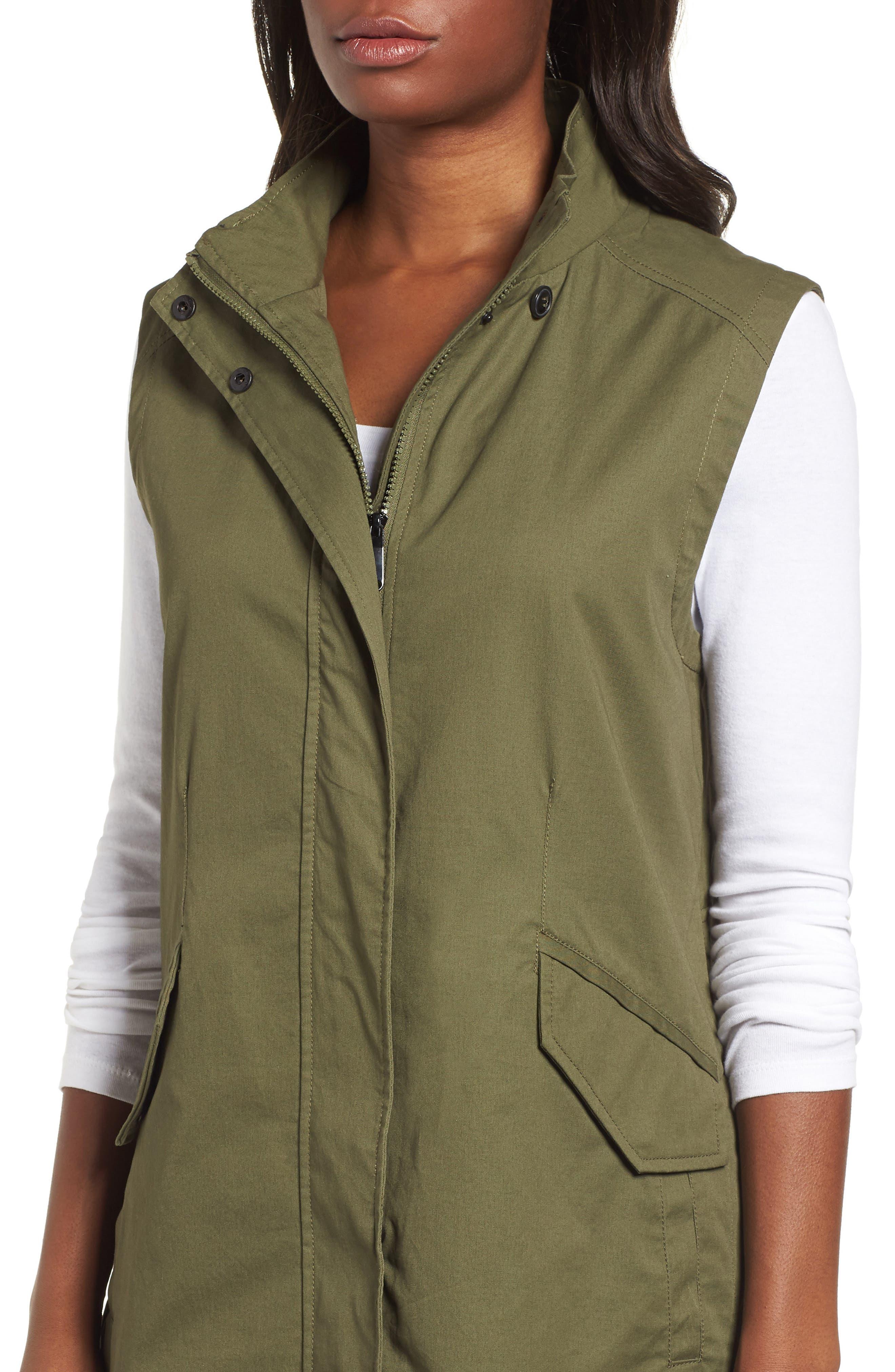 Elongated Hooded Vest,                             Alternate thumbnail 4, color,                             Loden