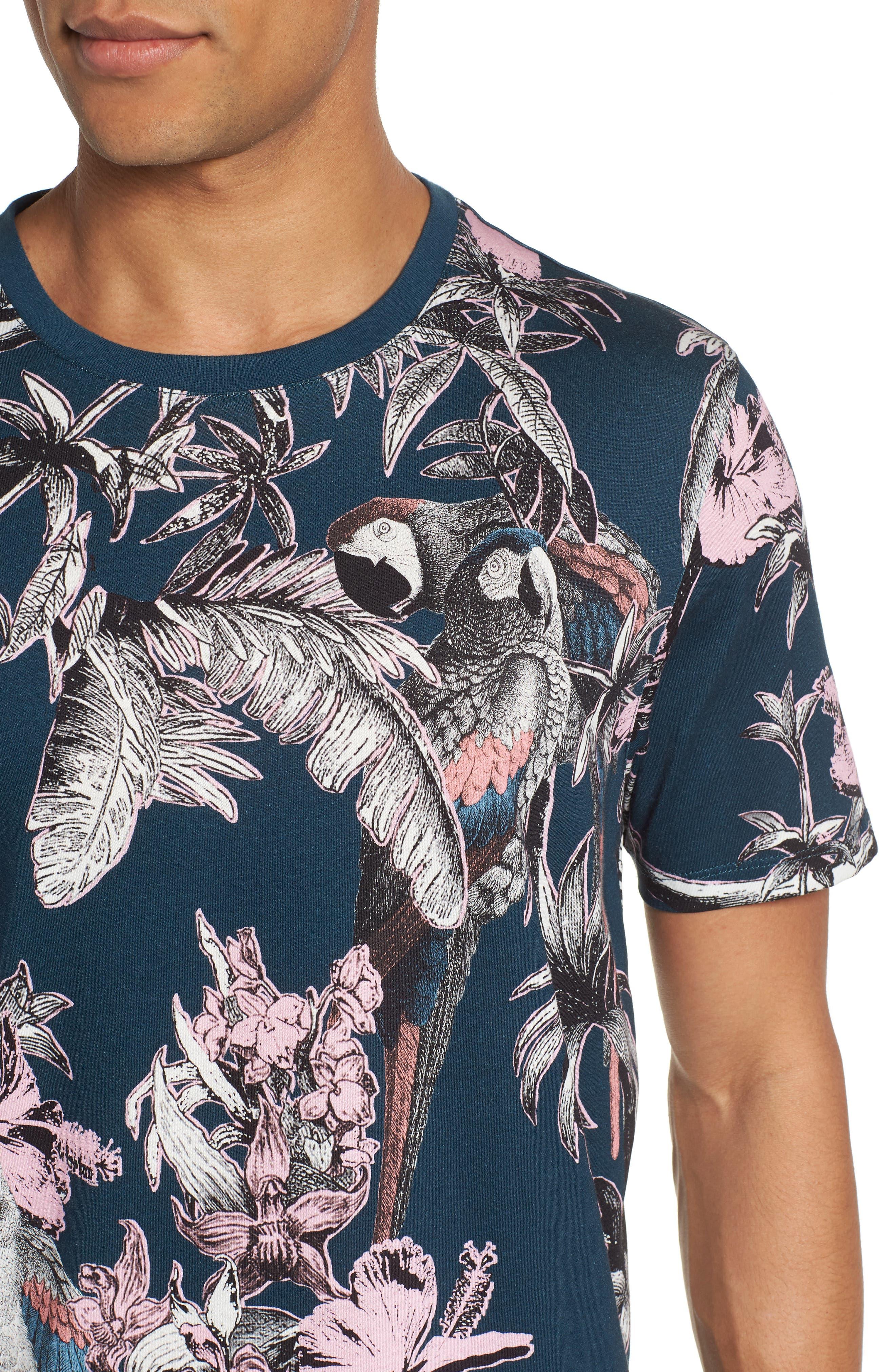 Trim Fit Print T-Shirt,                             Alternate thumbnail 4, color,                             Navy