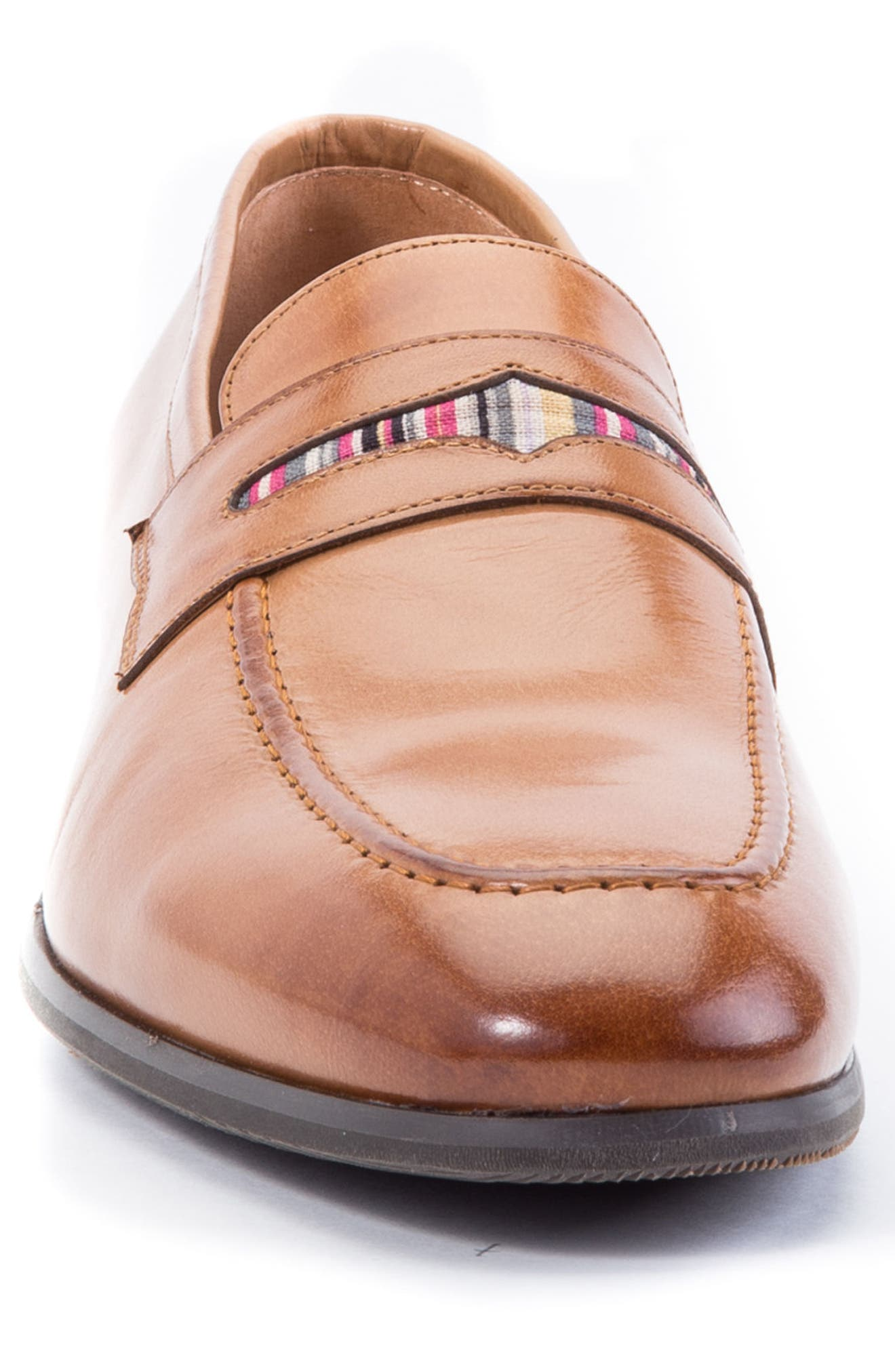 Hugo Penny Loafer,                             Alternate thumbnail 4, color,                             Cognac Leather