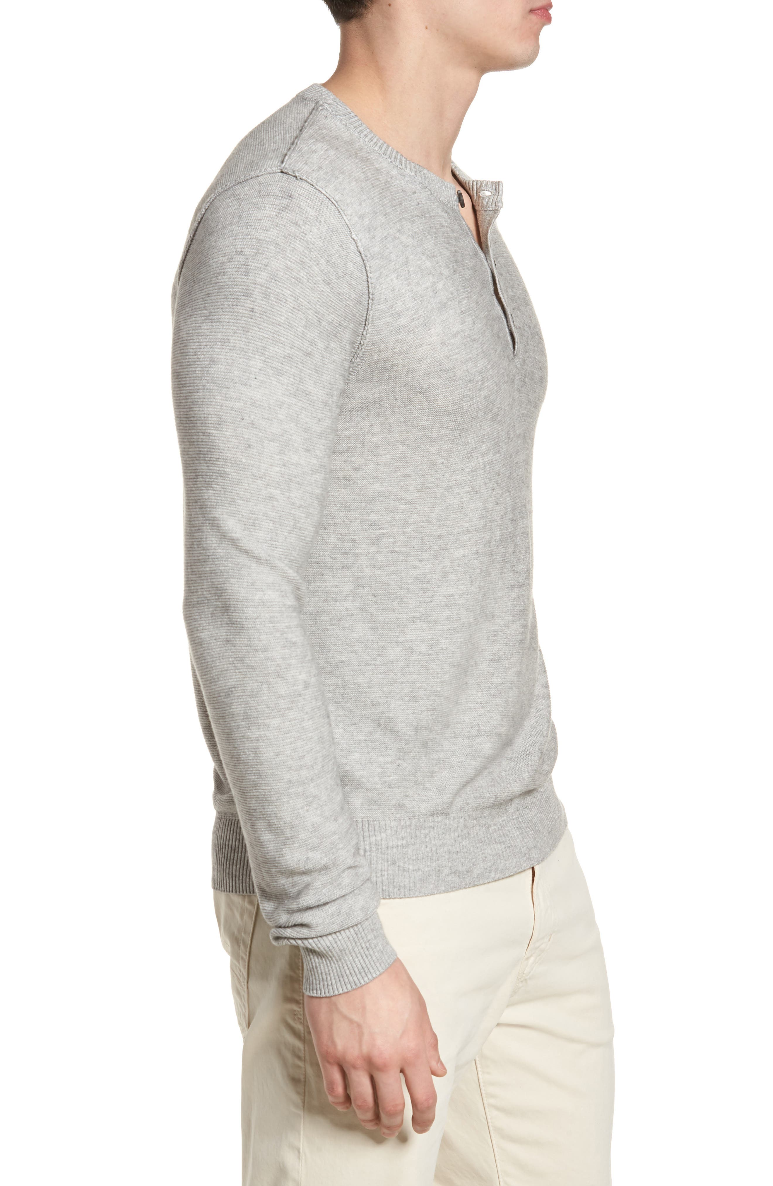Tailored Fit Henley,                             Alternate thumbnail 3, color,                             Light Grey