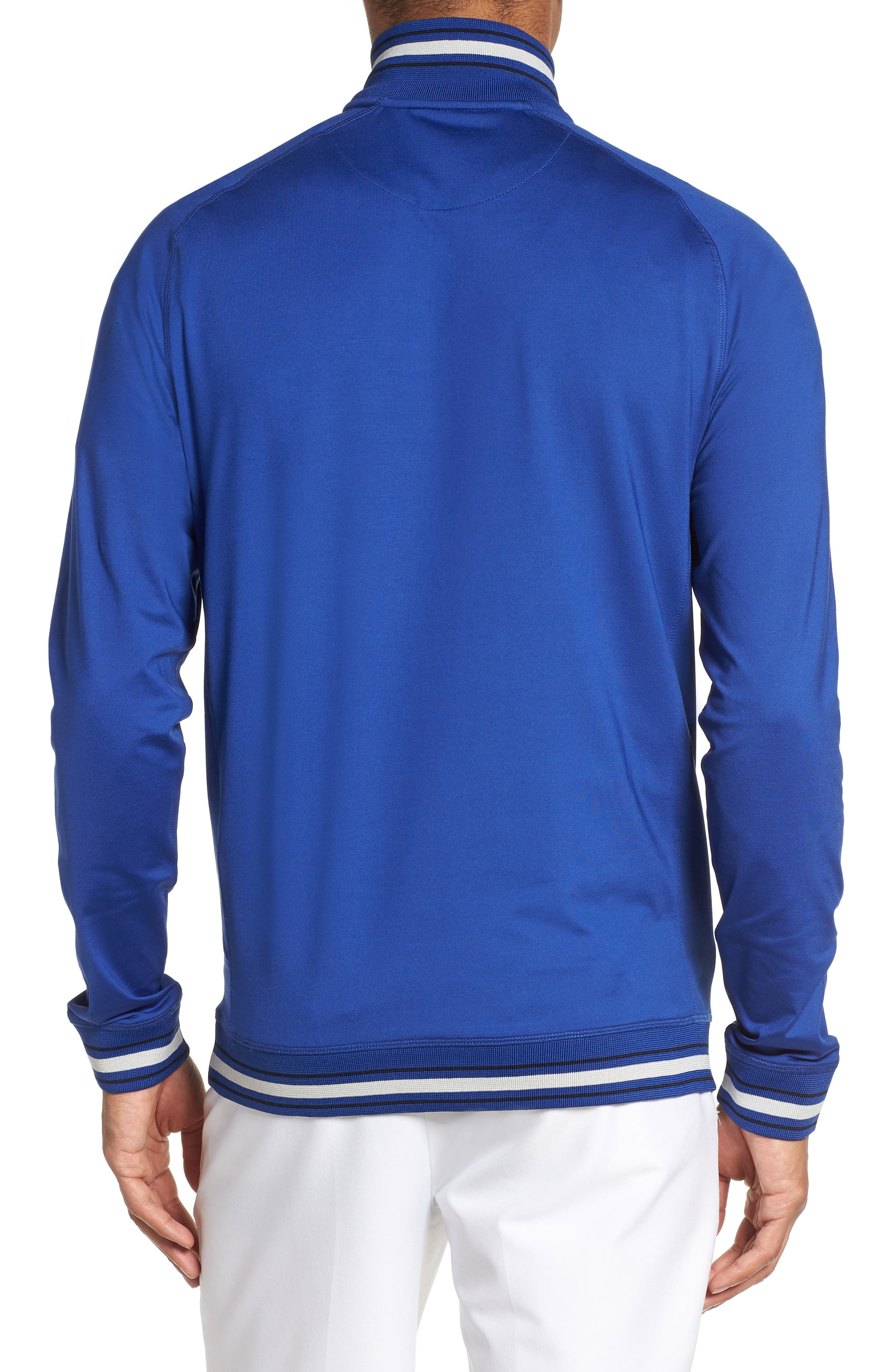 Trim Fit Quarter Zip Golf Pullover,                             Alternate thumbnail 2, color,                             Bright Blue