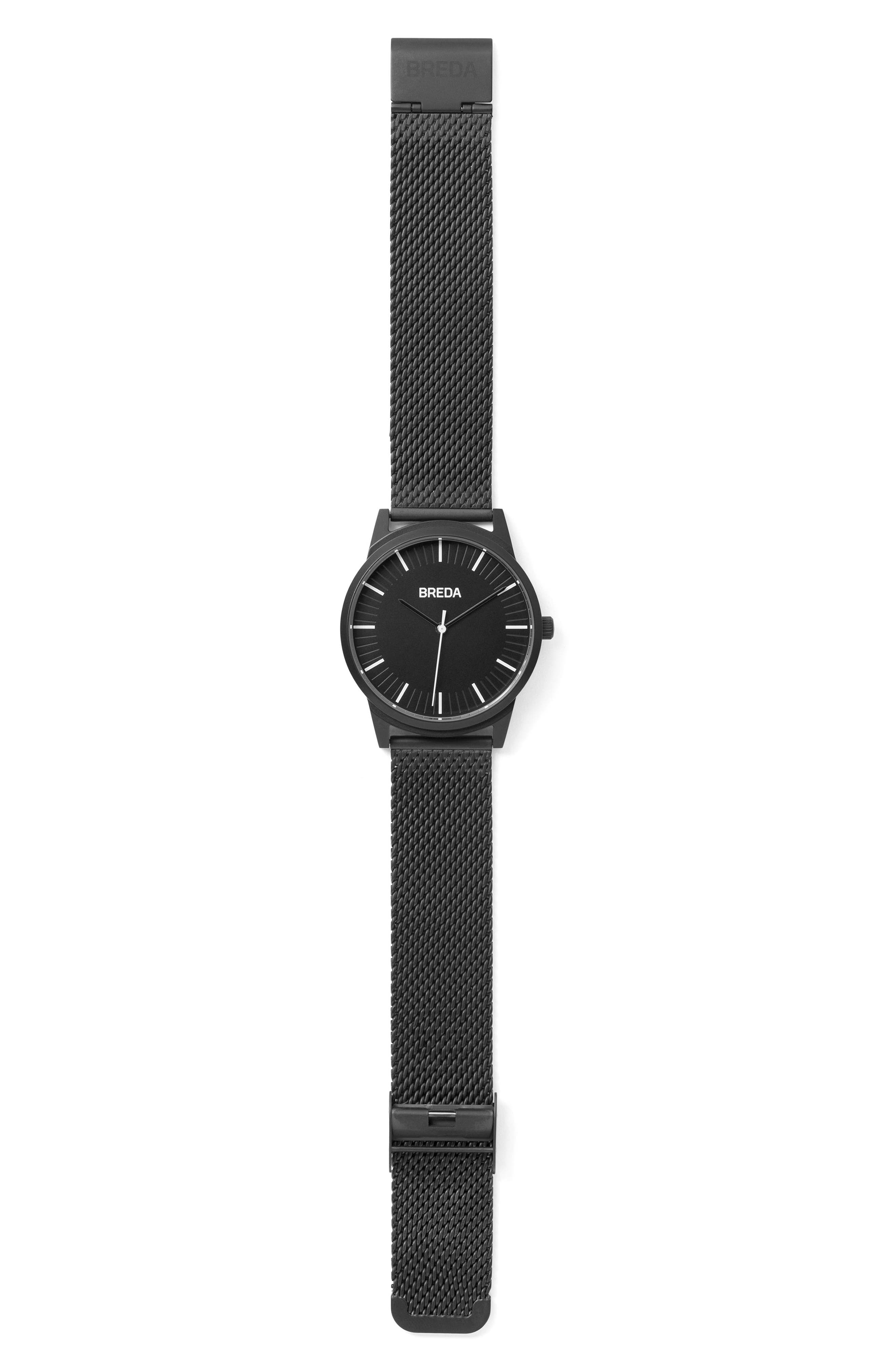Bresson Mesh Strap Watch, 39mm,                             Alternate thumbnail 2, color,                             Black