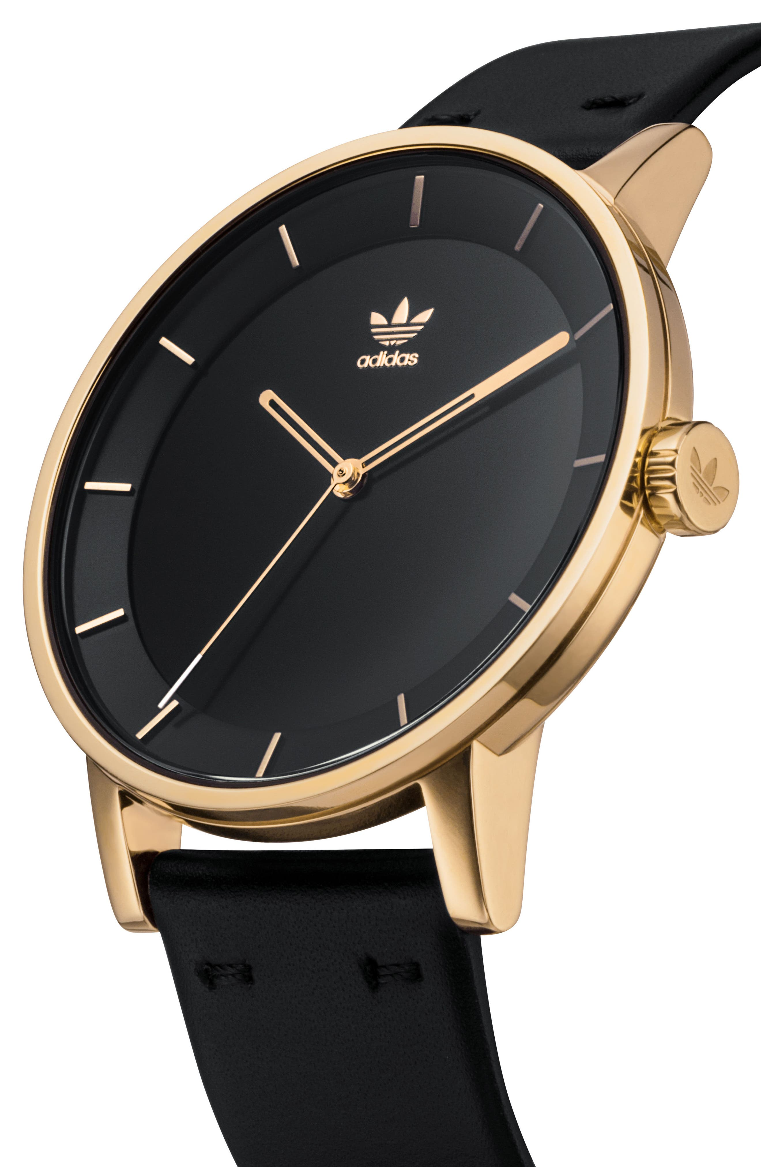 District Leather Strap Watch, 40mm,                             Alternate thumbnail 3, color,                             Gold/ Black