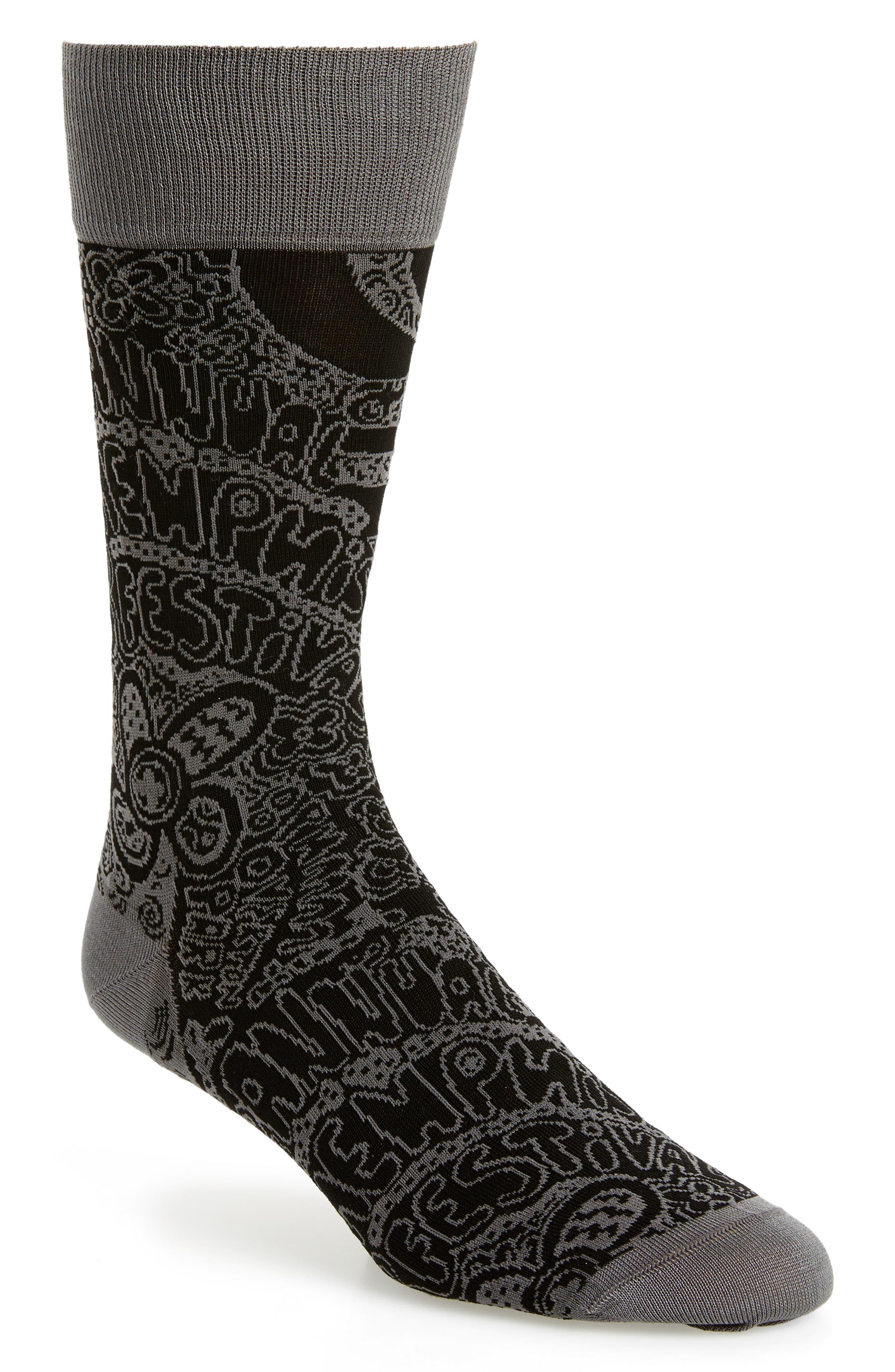 Mercerized Cotton Blend Socks,                             Main thumbnail 1, color,                             Black