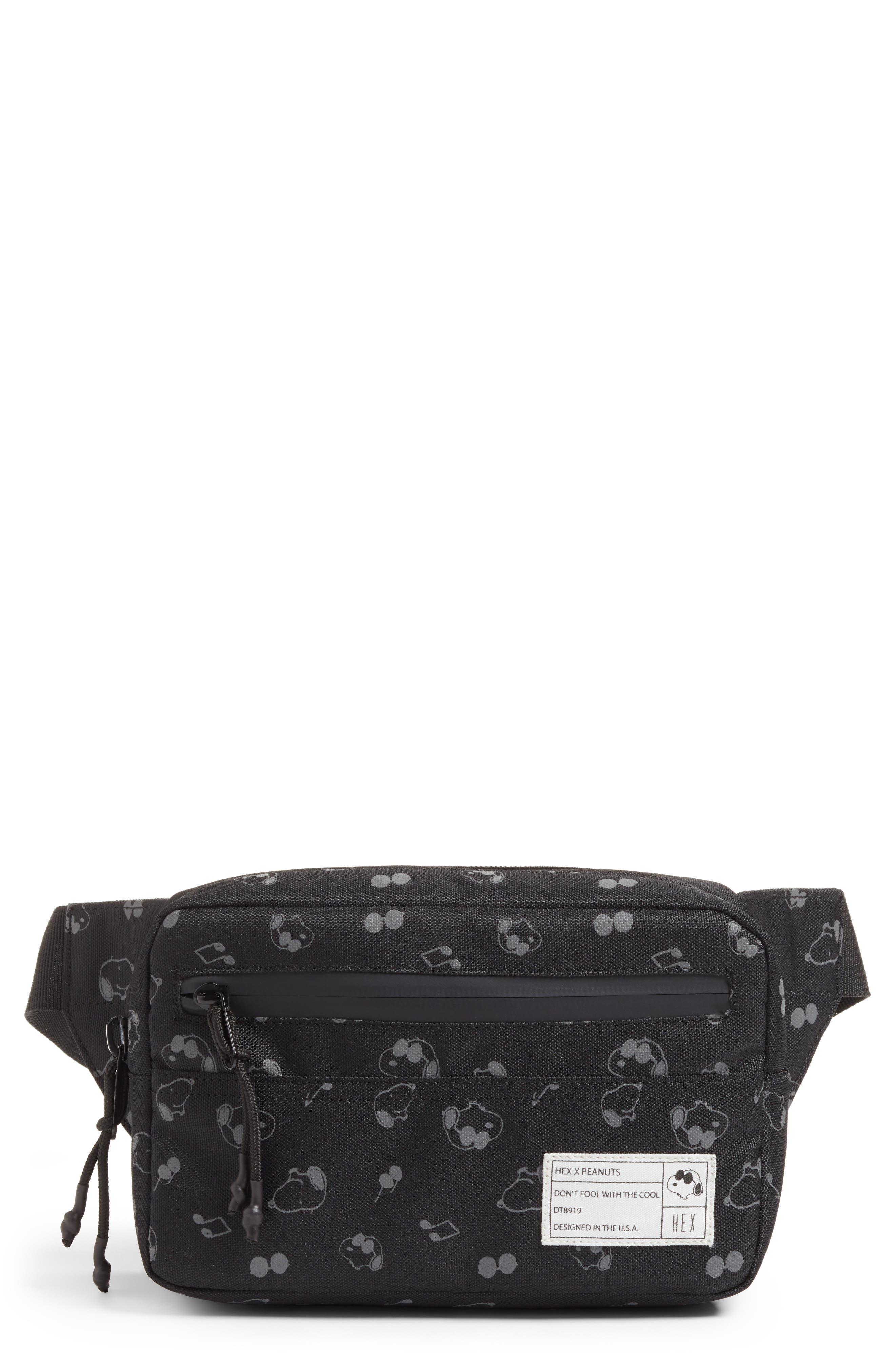 x Peanuts Water Resistant Waist Pack,                             Main thumbnail 1, color,                             Black