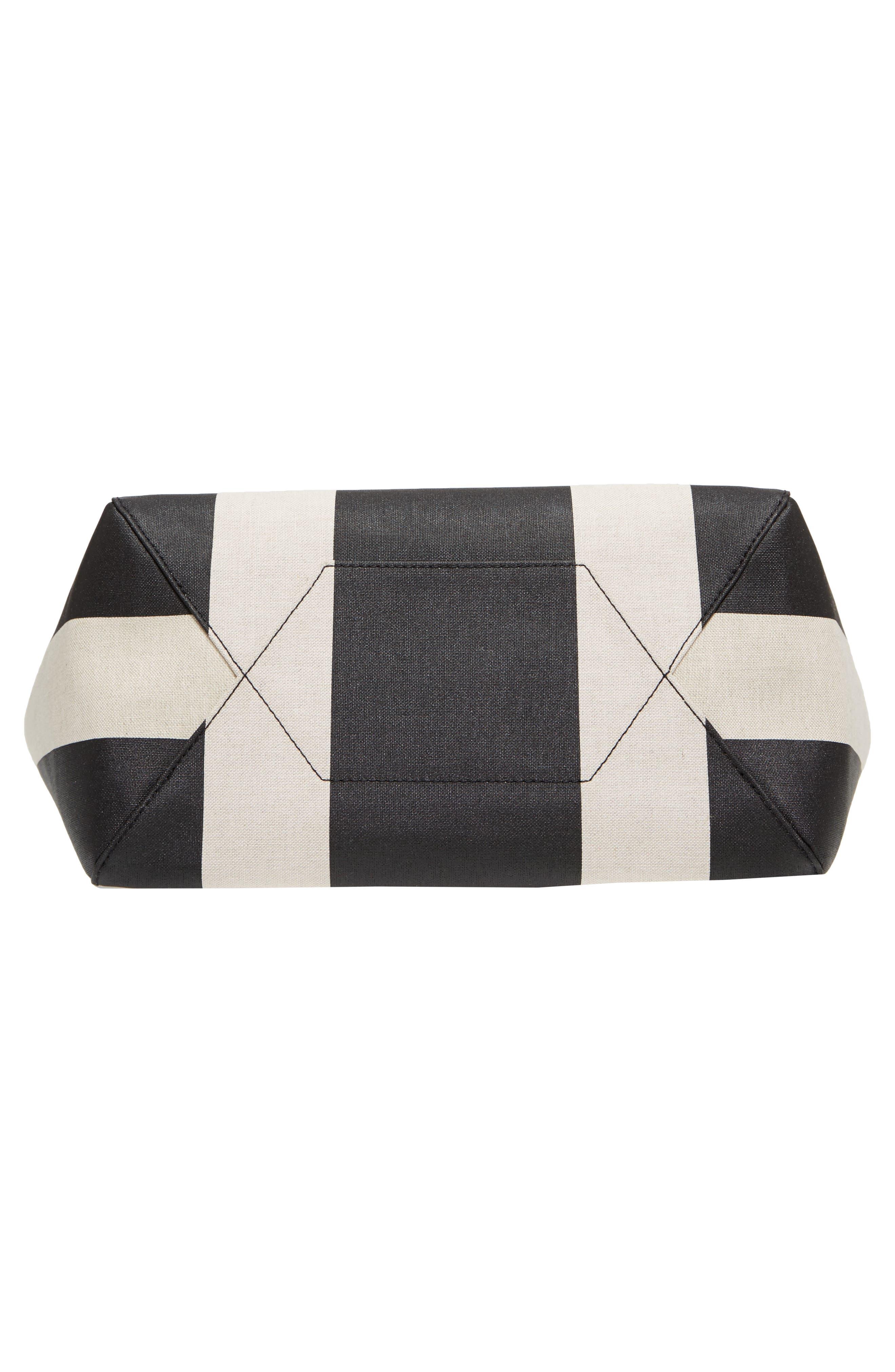 Ilse Medium East/West Stripe Canvas Shopper,                             Alternate thumbnail 6, color,                             Black