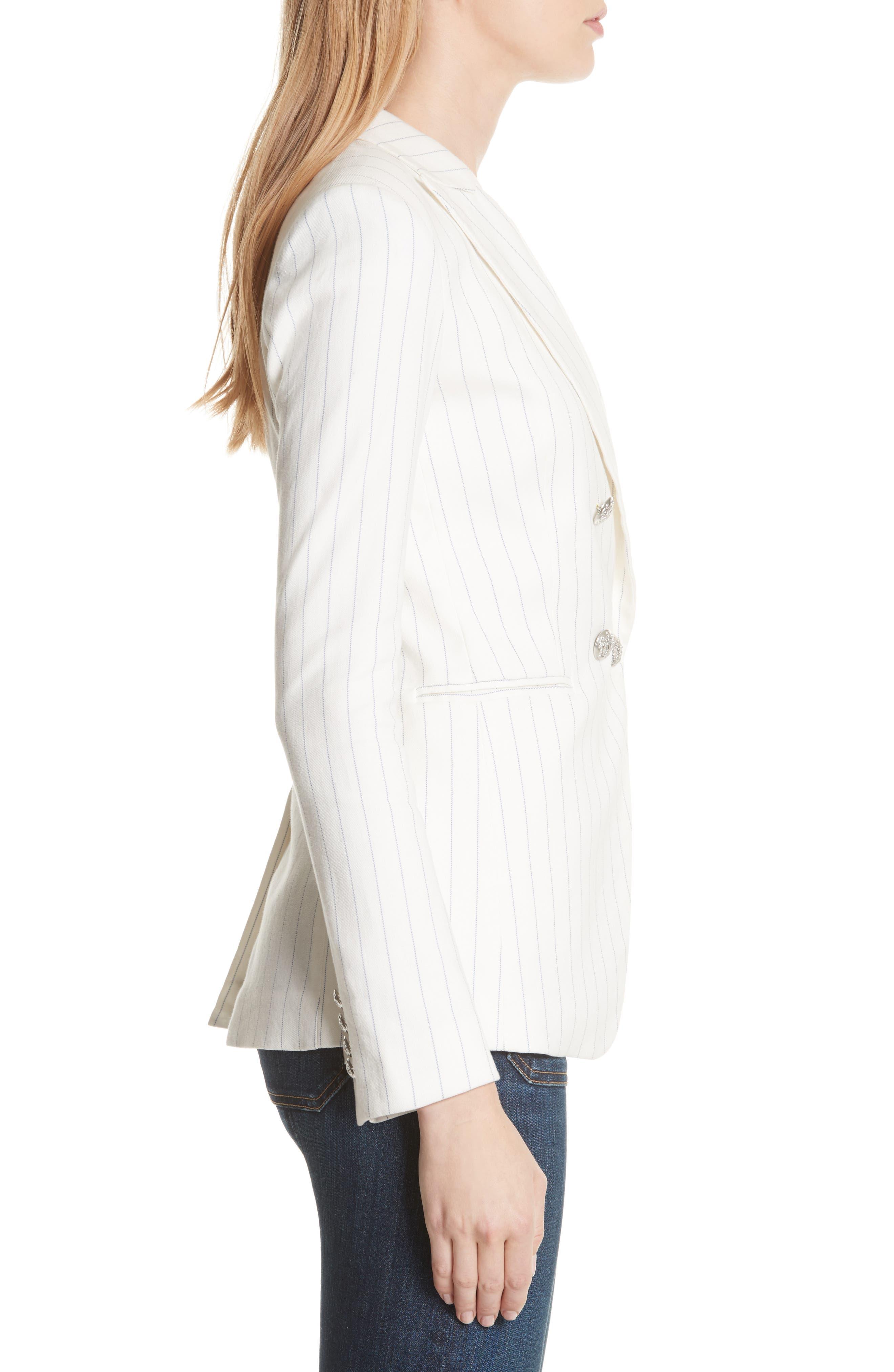 Apollo Pinstripe Jacket,                             Alternate thumbnail 3, color,                             Off White/ Blue Stripe