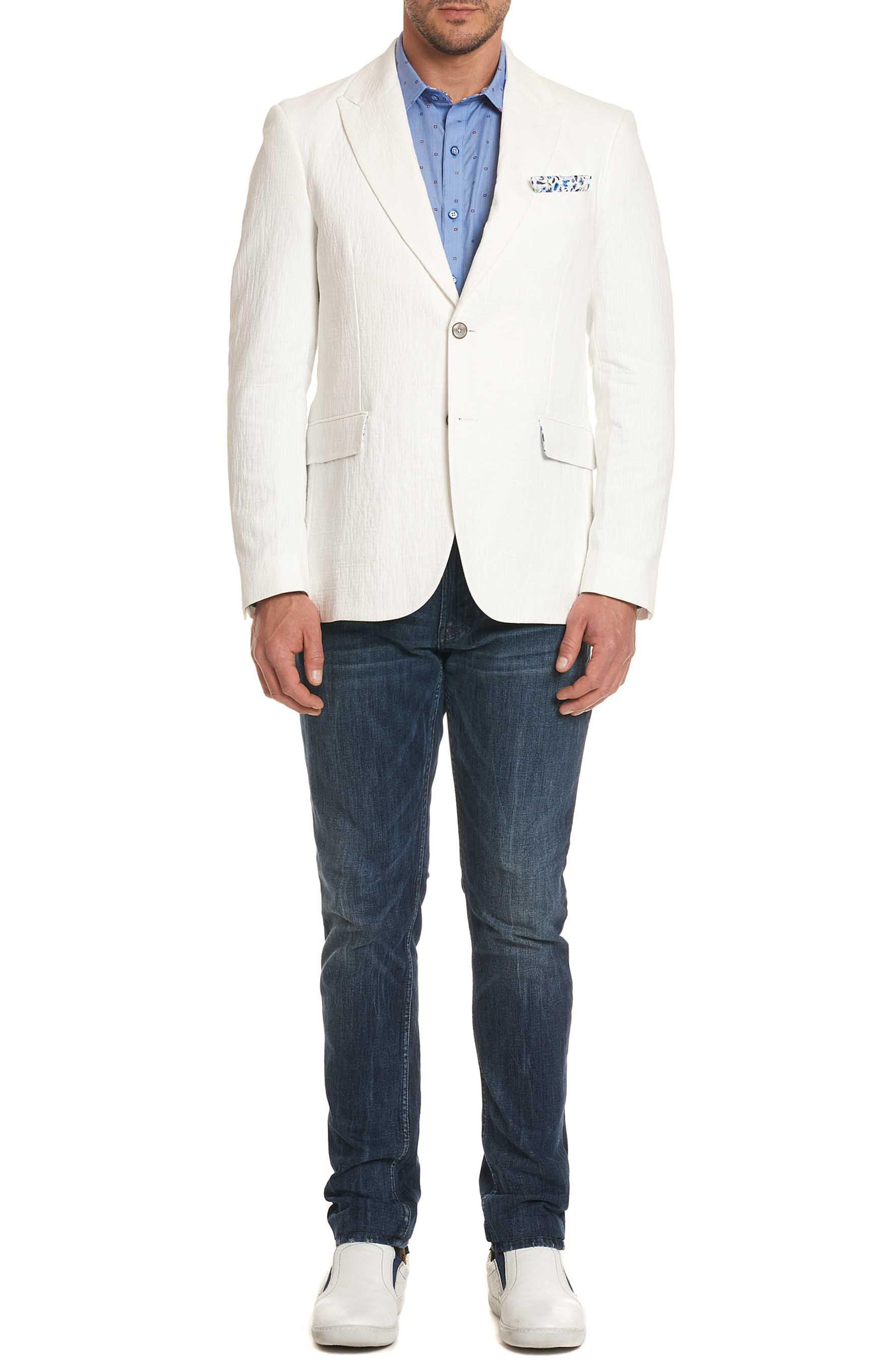 Montero Classic Fit Seersucker Sport Coat,                             Alternate thumbnail 6, color,                             White