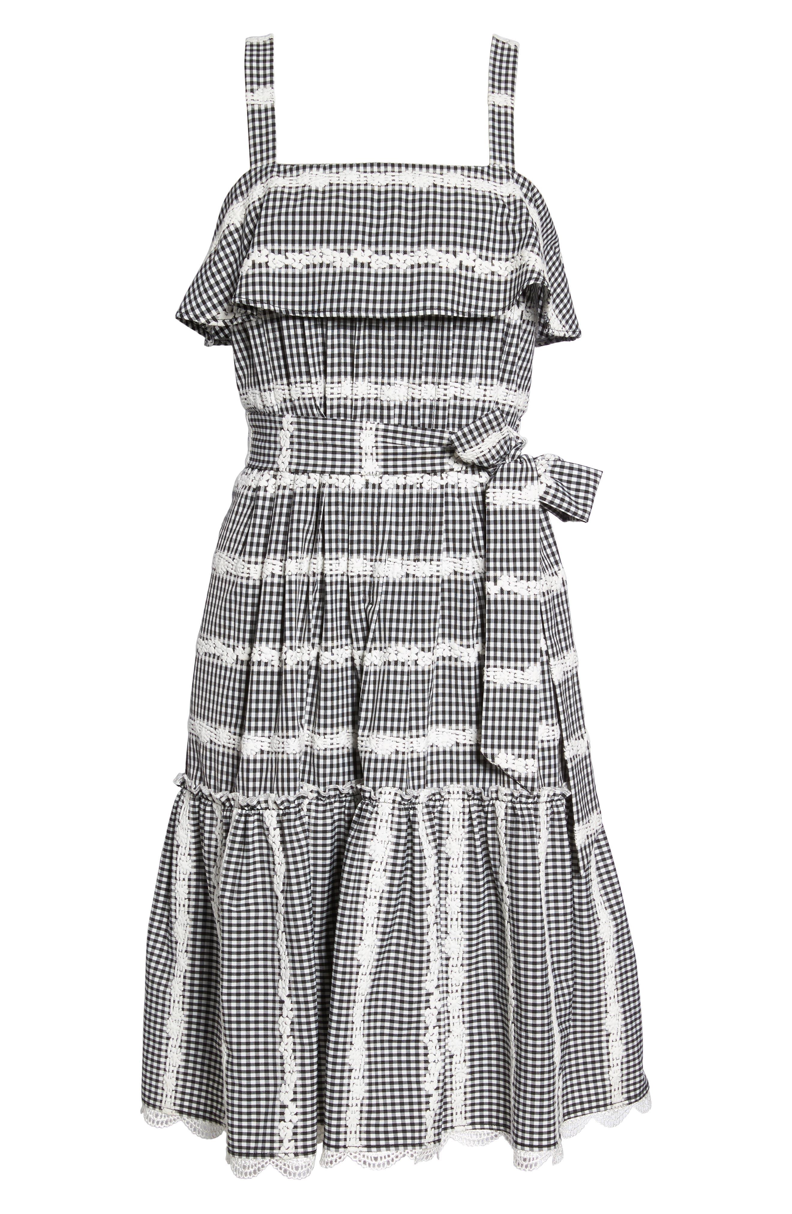 Belle Midi Dress,                             Alternate thumbnail 6, color,                             Black/ White