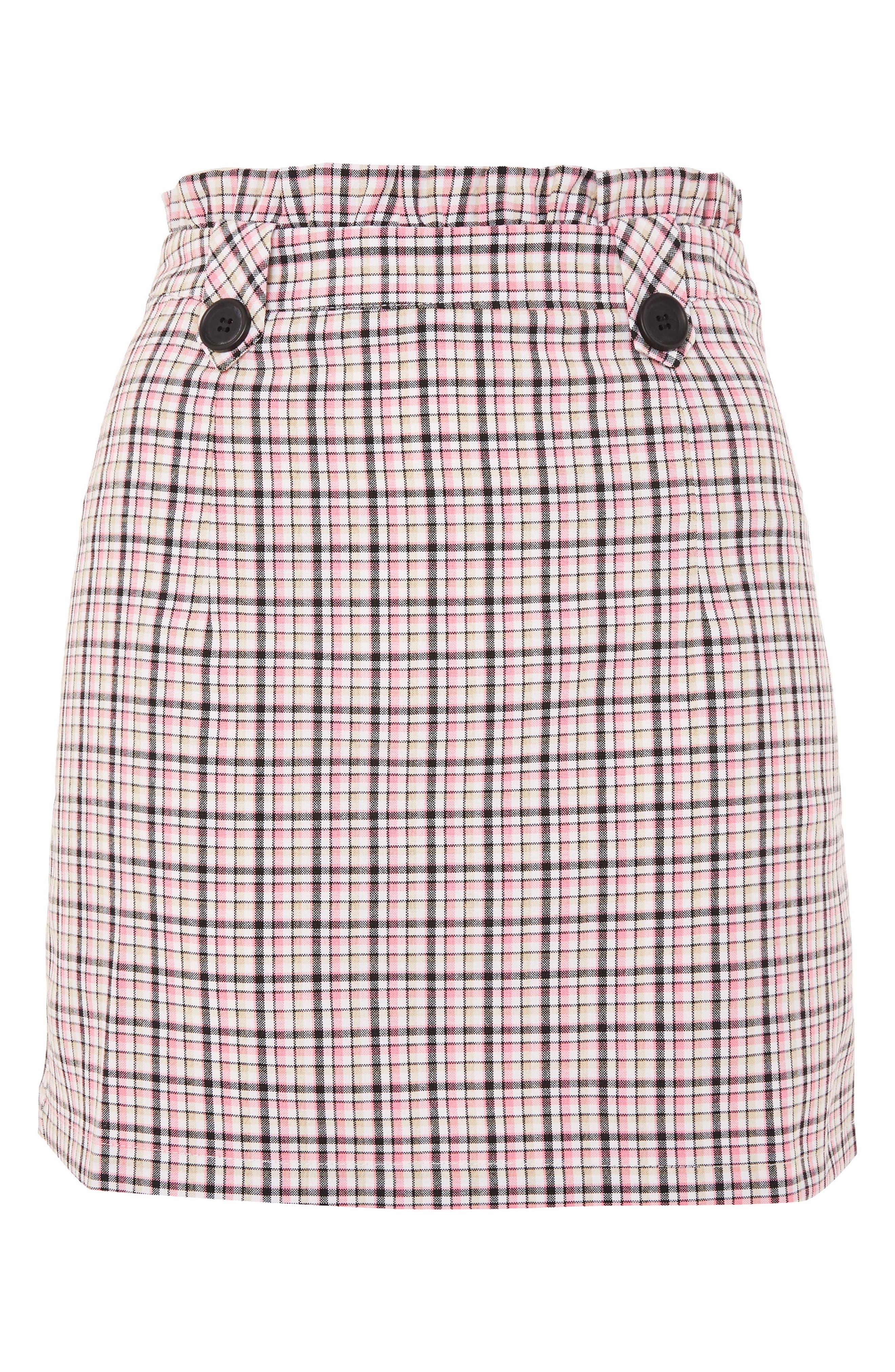 Pop Check Frill Waist Miniskirt,                             Alternate thumbnail 3, color,                             Pink Multi