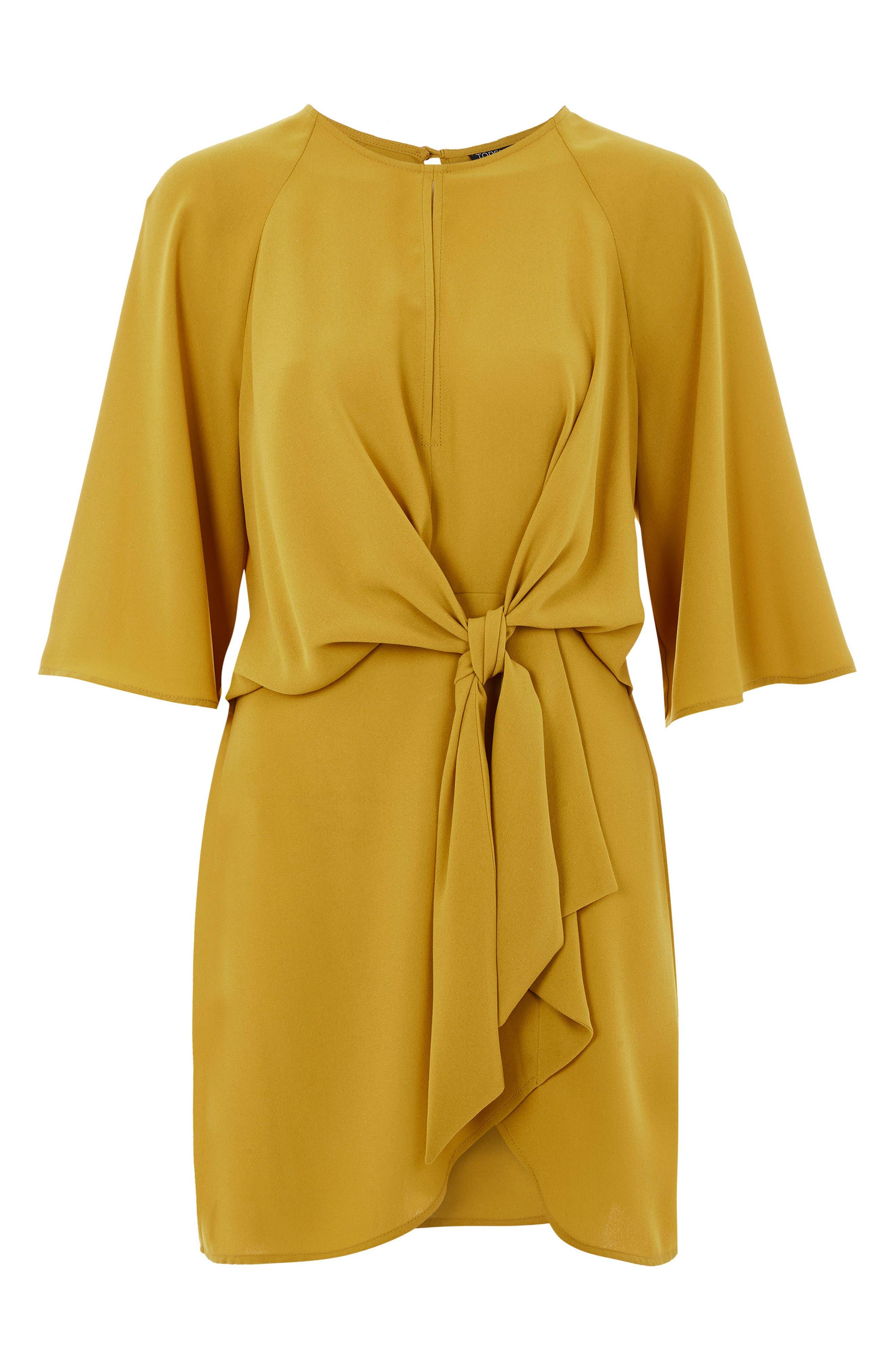 Tie Front Minidress,                             Alternate thumbnail 4, color,                             Mustard