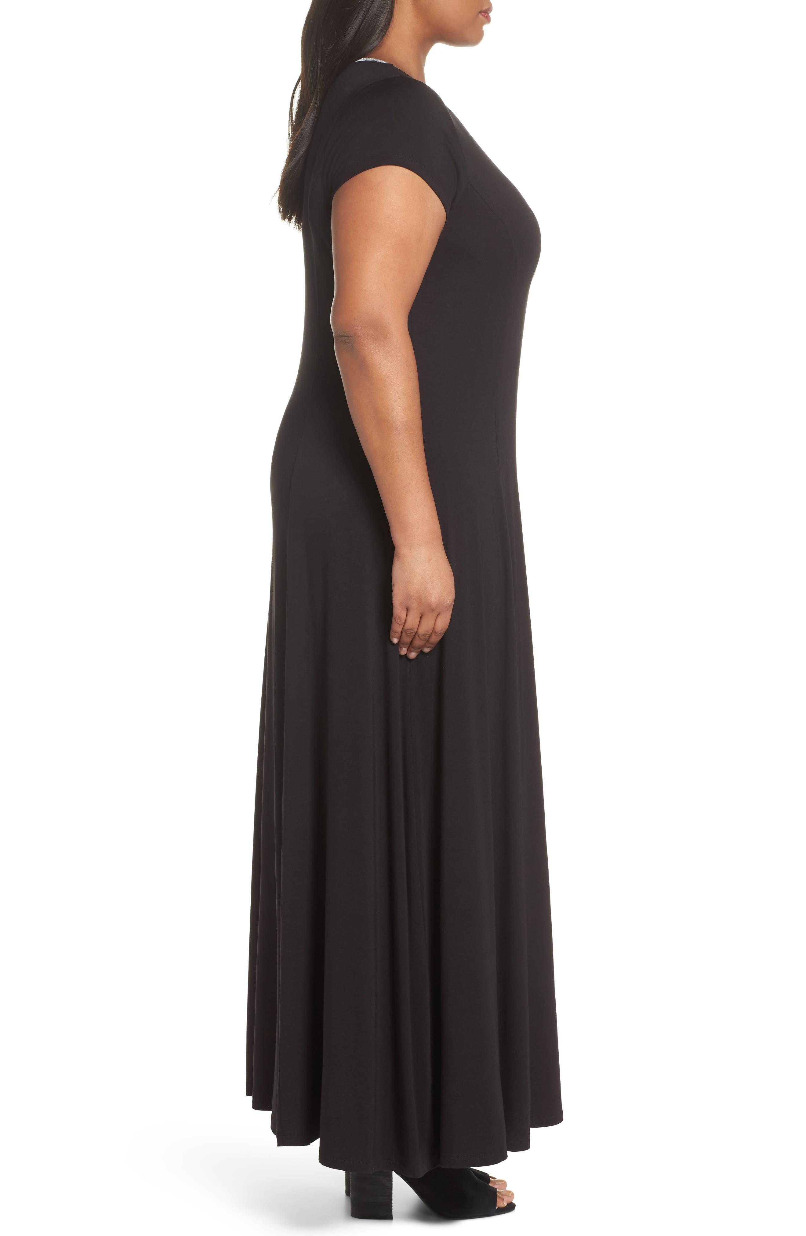 Metallic Crewneck Maxi Dress,                             Alternate thumbnail 3, color,                             Black
