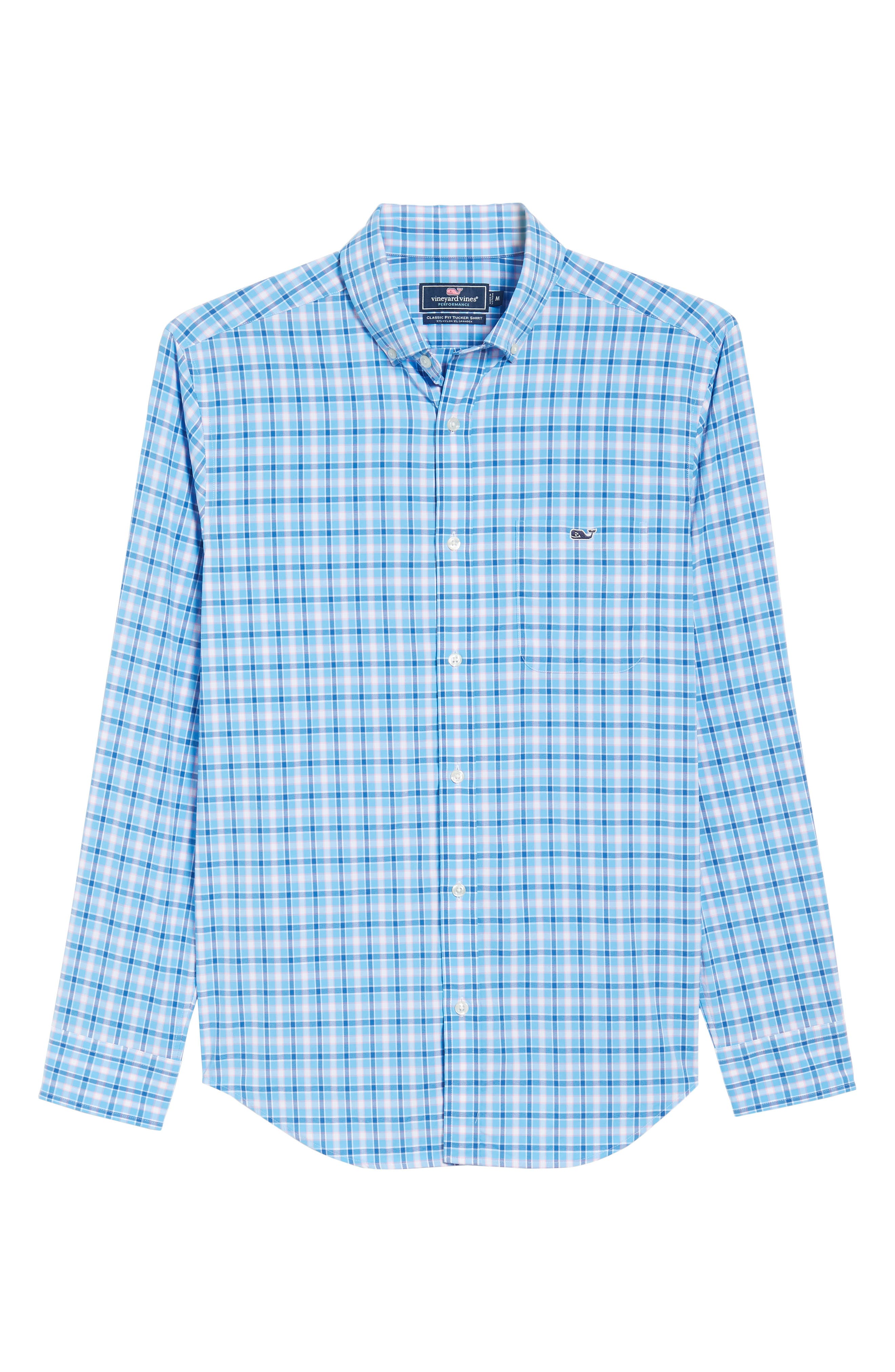 Lyford Cay Classic Fit Stretch Check Sport Shirt,                             Alternate thumbnail 6, color,                             Ocean Breeze