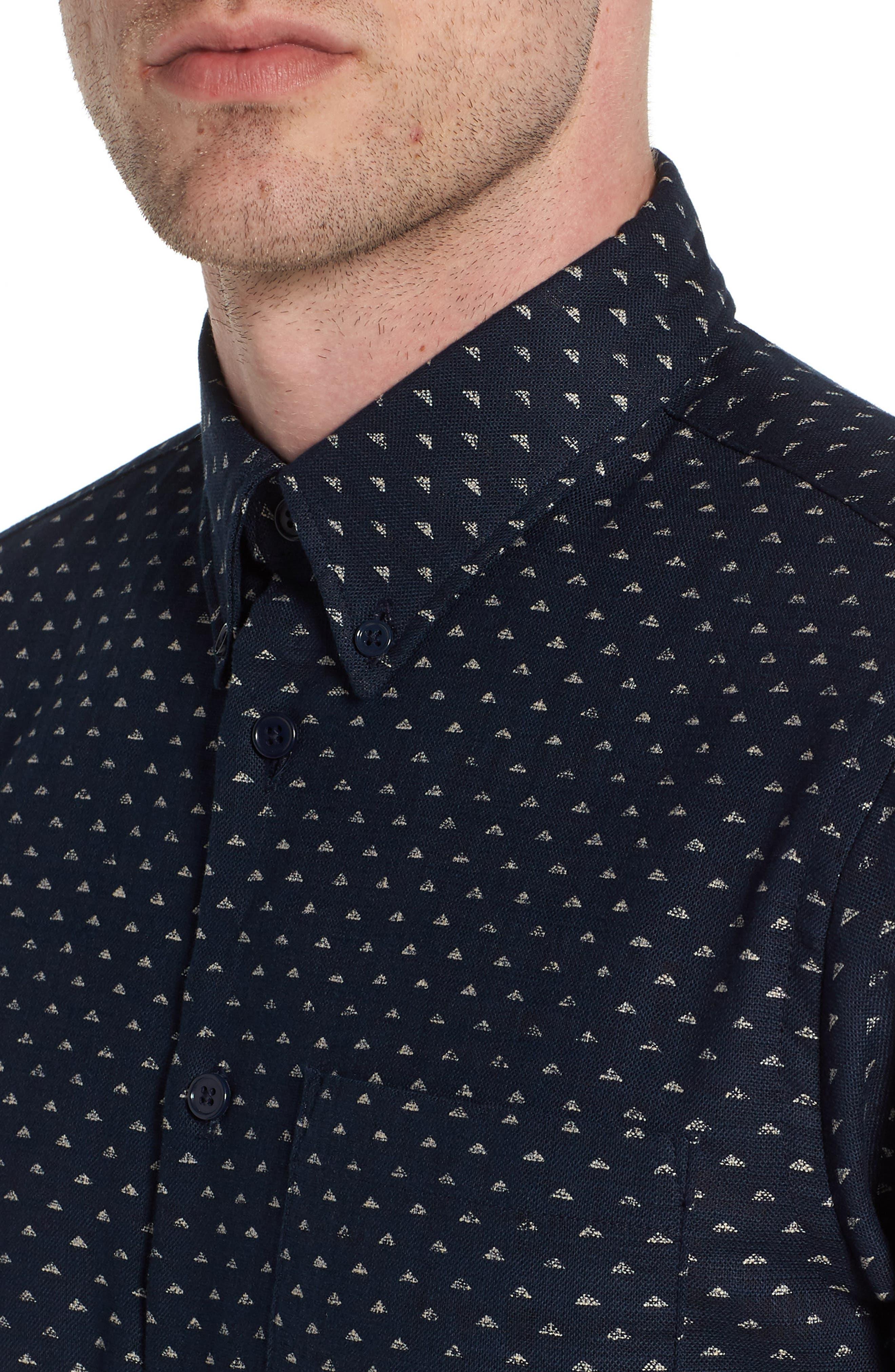 Kimono Print Shirt,                             Alternate thumbnail 4, color,                             Indigo