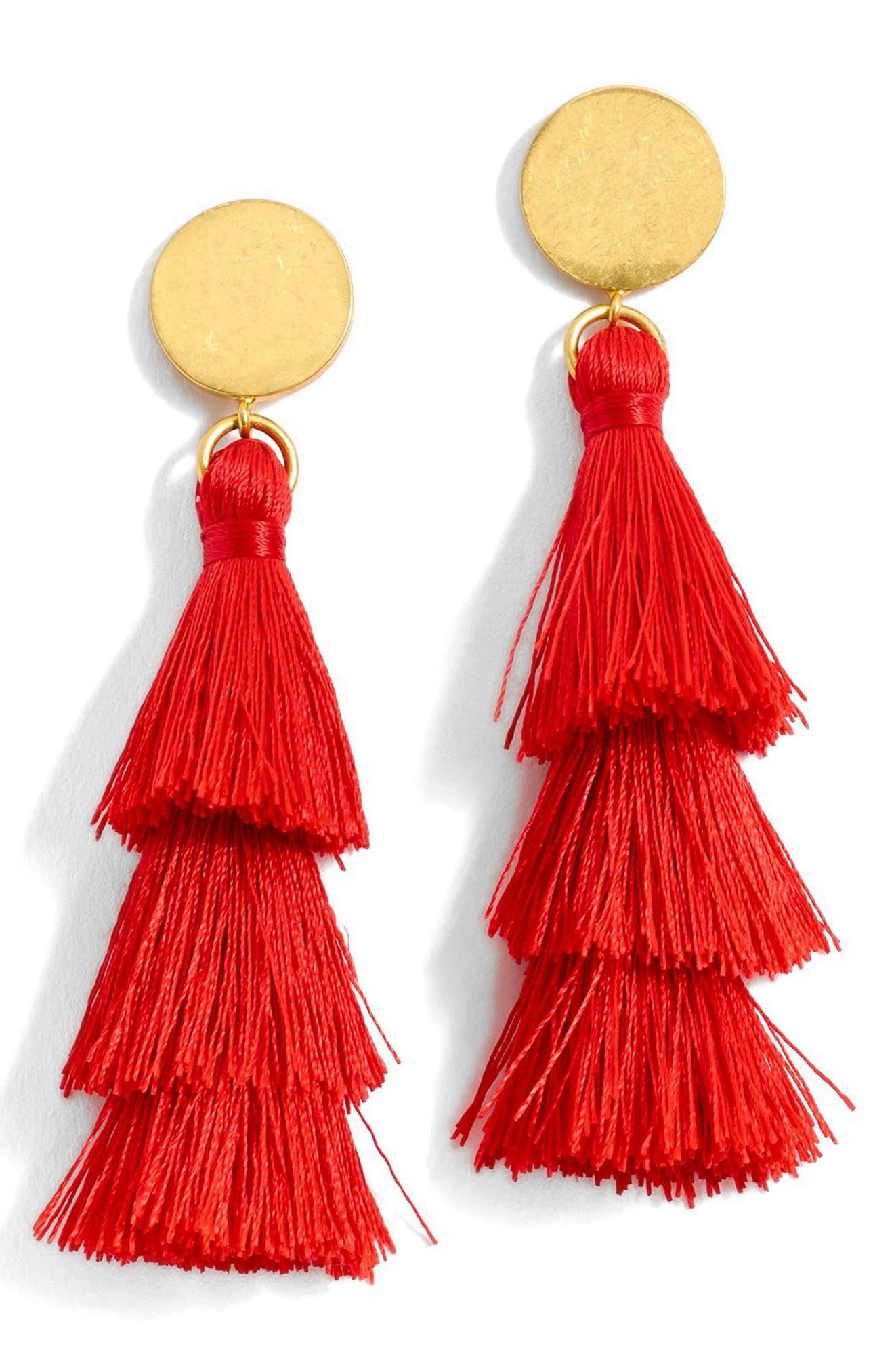 J.Crew Tiered Tassel Earrings,                         Main,                         color, Red