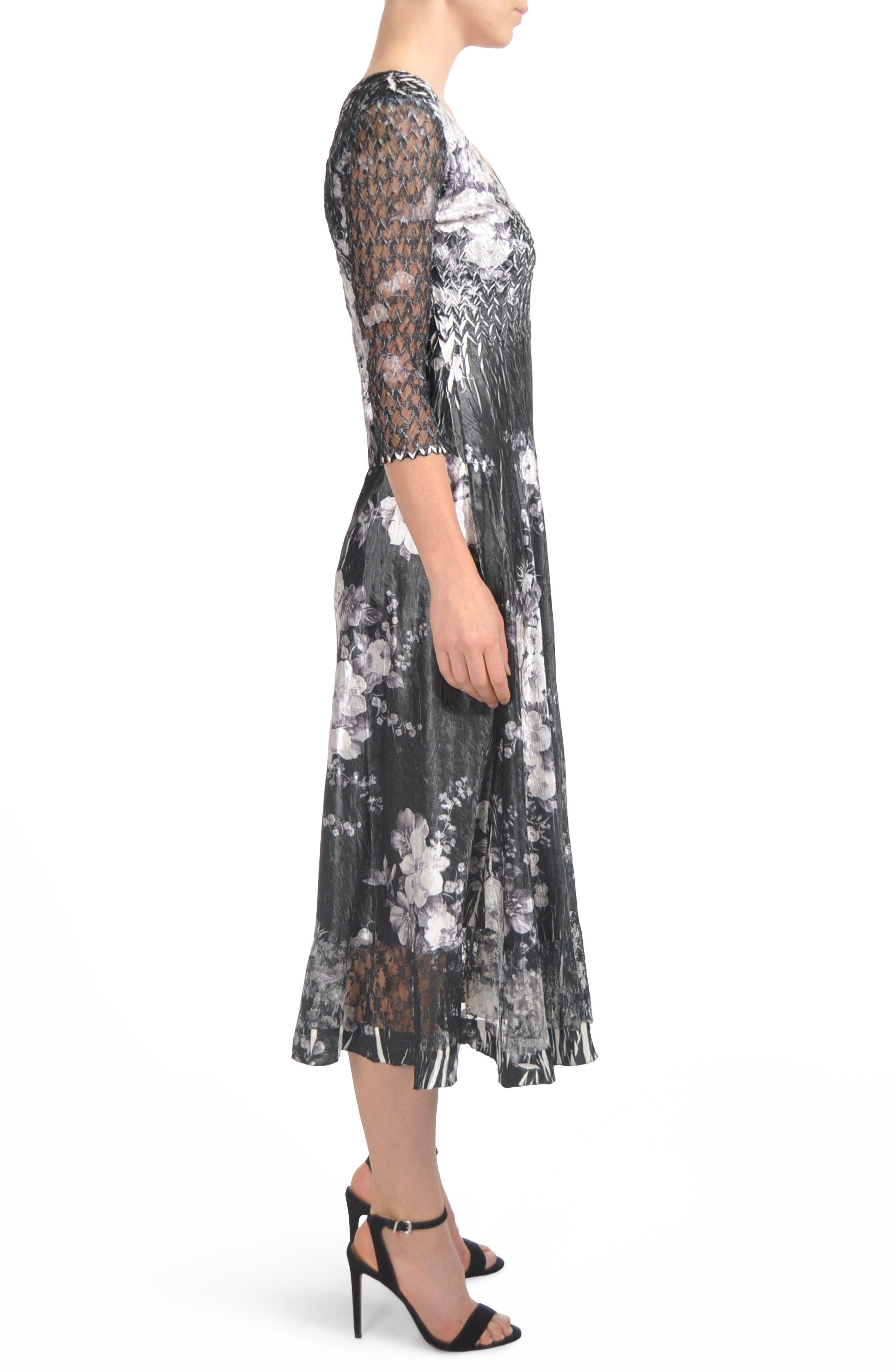 Floral Charmeuse & Lace Tea Length Dress,                             Alternate thumbnail 3, color,                             Eclipse Meadow