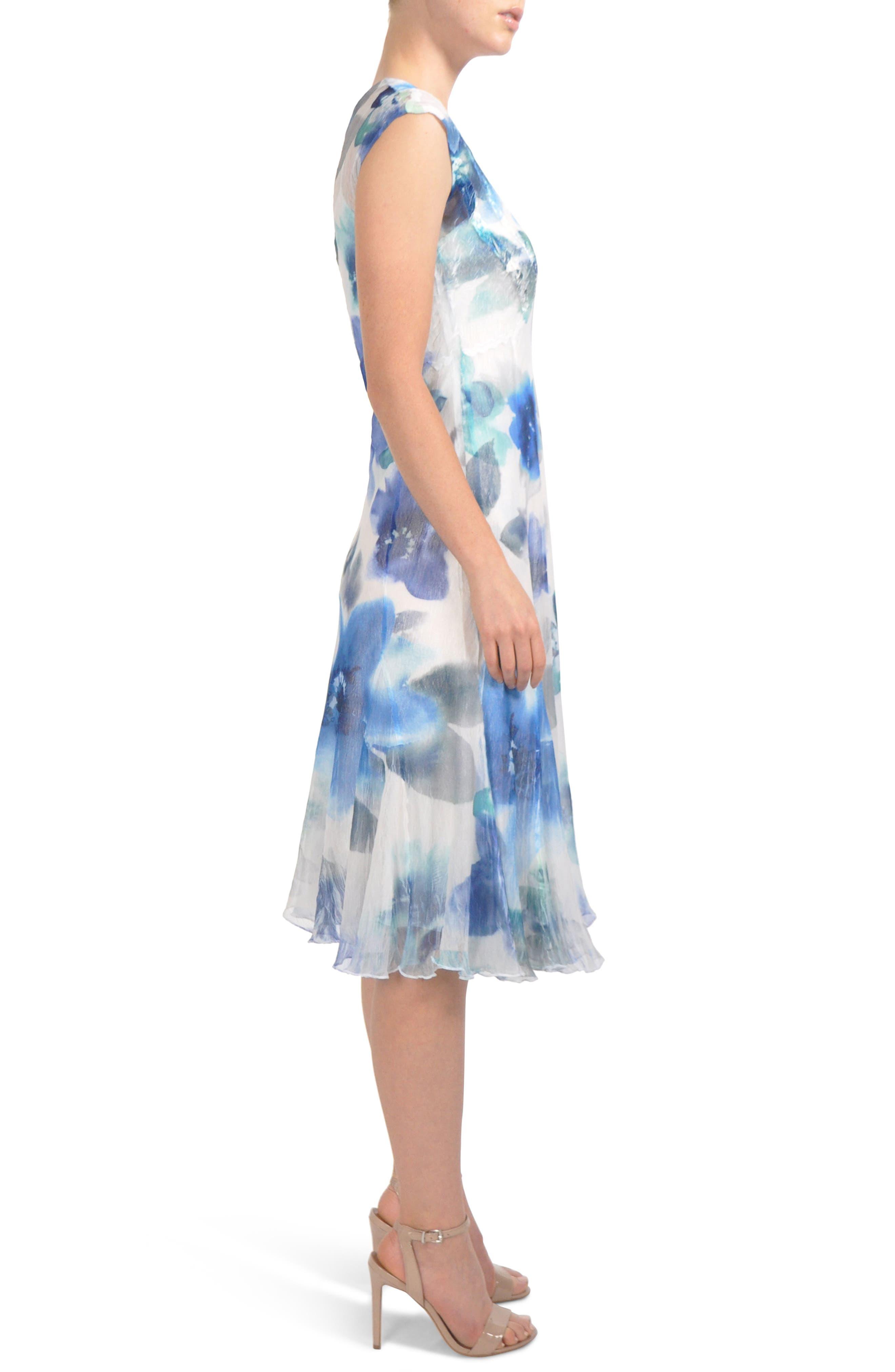 V-Neck Chiffon Tea Length Dress,                             Alternate thumbnail 3, color,                             Azure Rainbow
