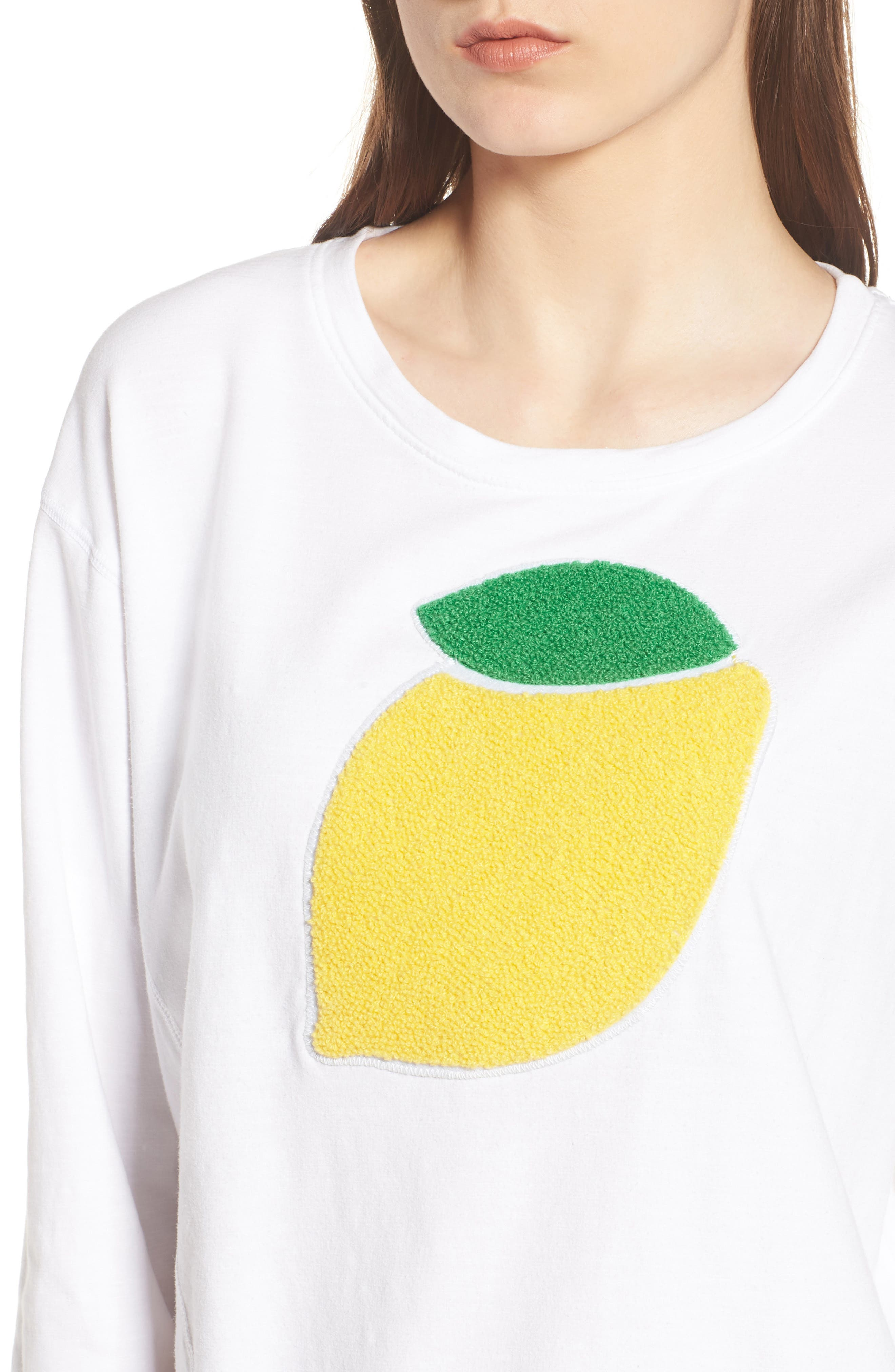 Lemon Asymmetrical Hem Pullover,                             Alternate thumbnail 4, color,                             White